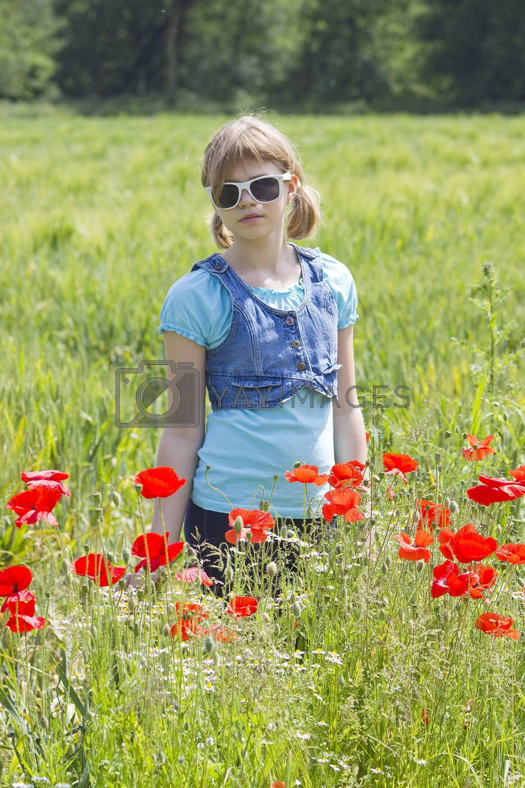 Cute young girl in poppy field