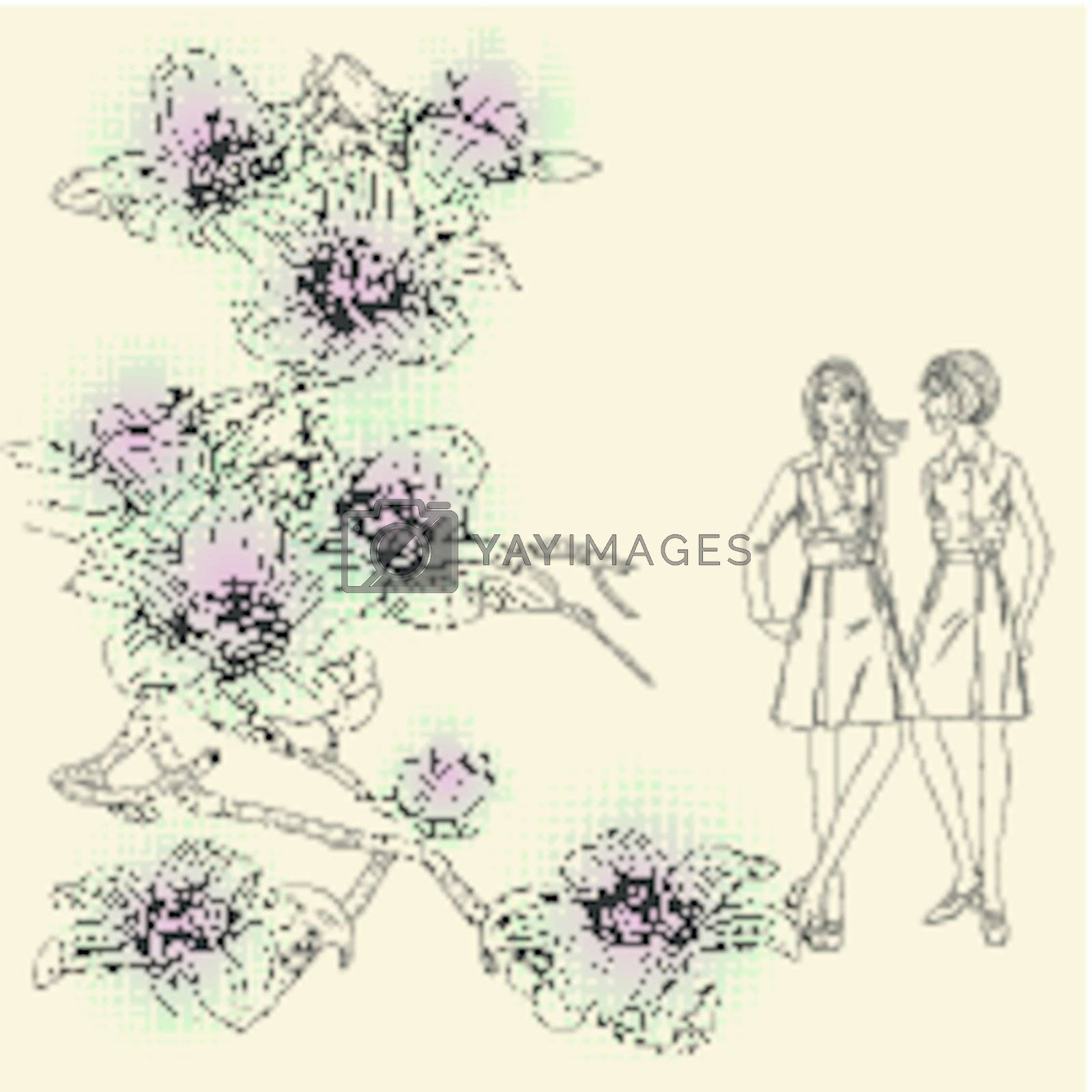 fashion girls  on a floral background