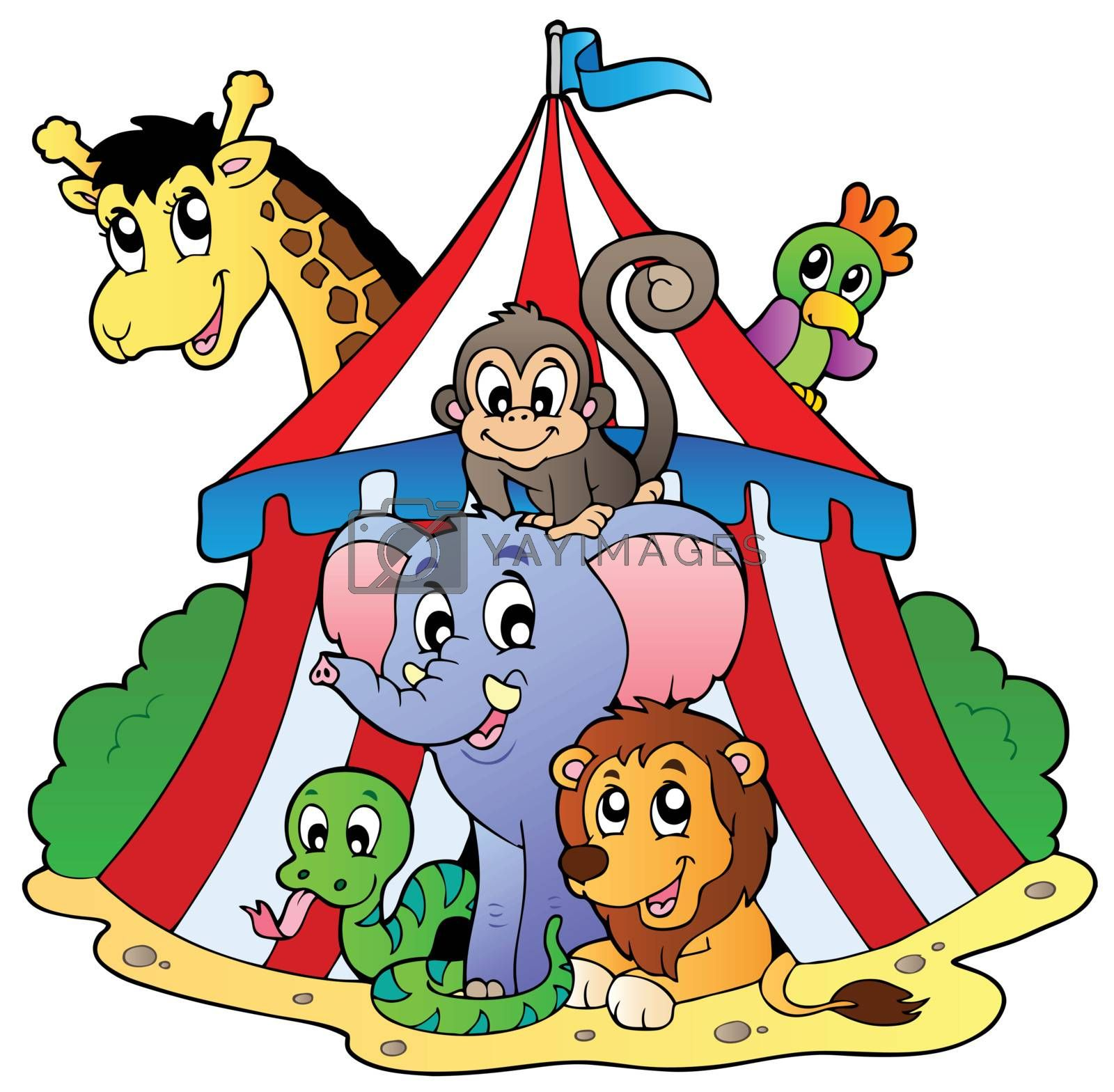 Various animals in circus tent by clairev