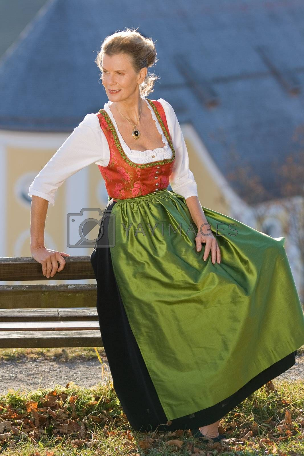 Old Bavarian woman in fashionable festive costume