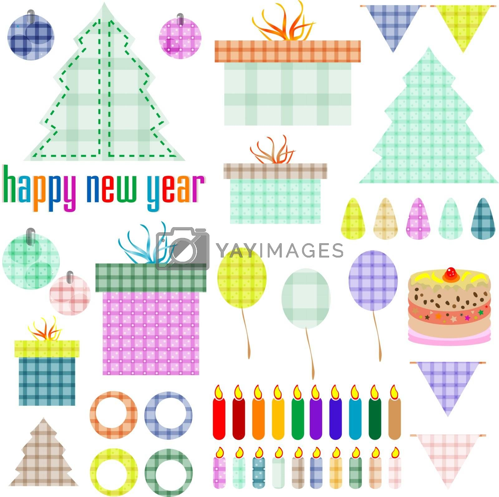 Christmas and New Year decoration elements. vector holiday theme