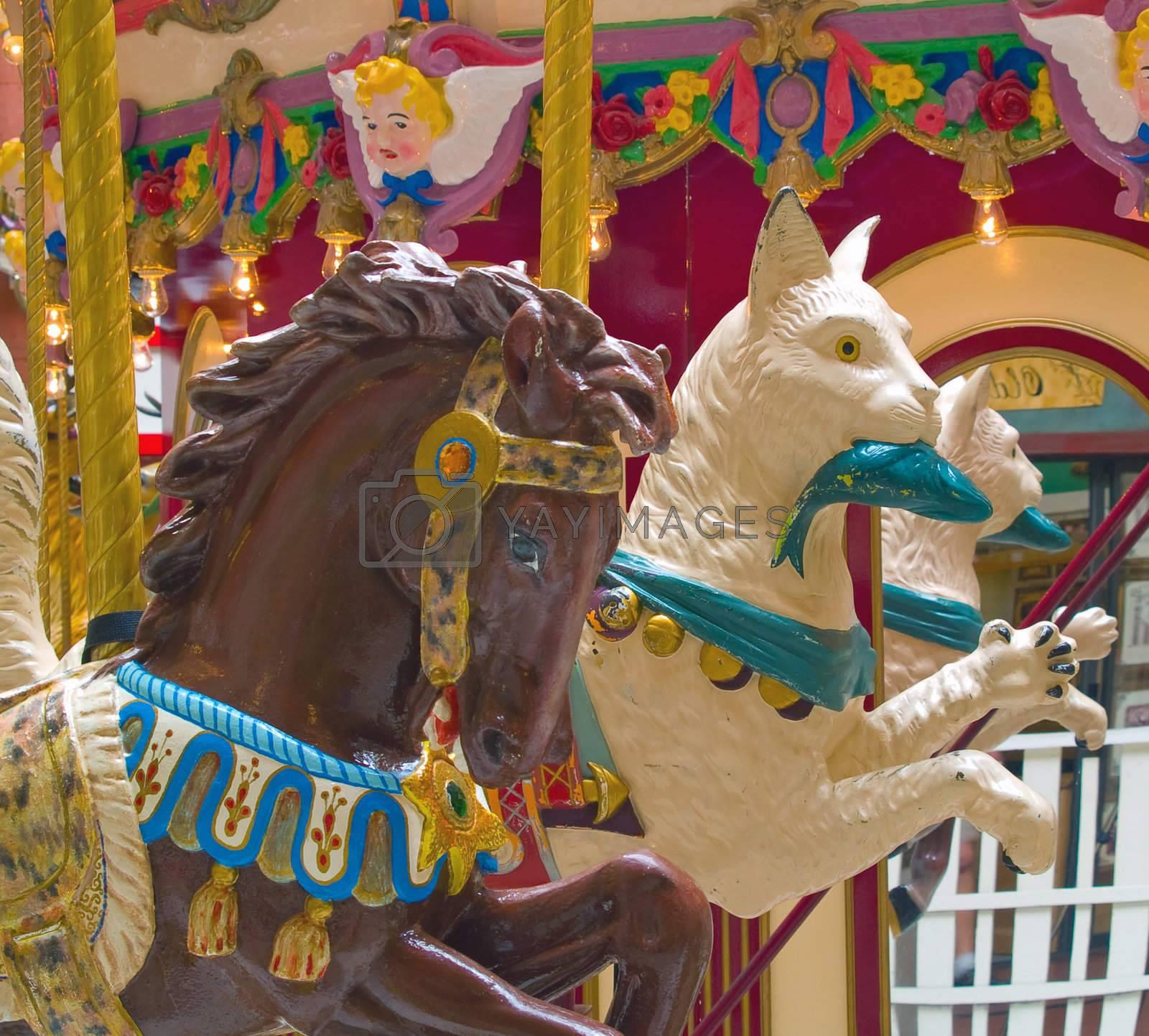 Carousel animals on an indoor amusement ride