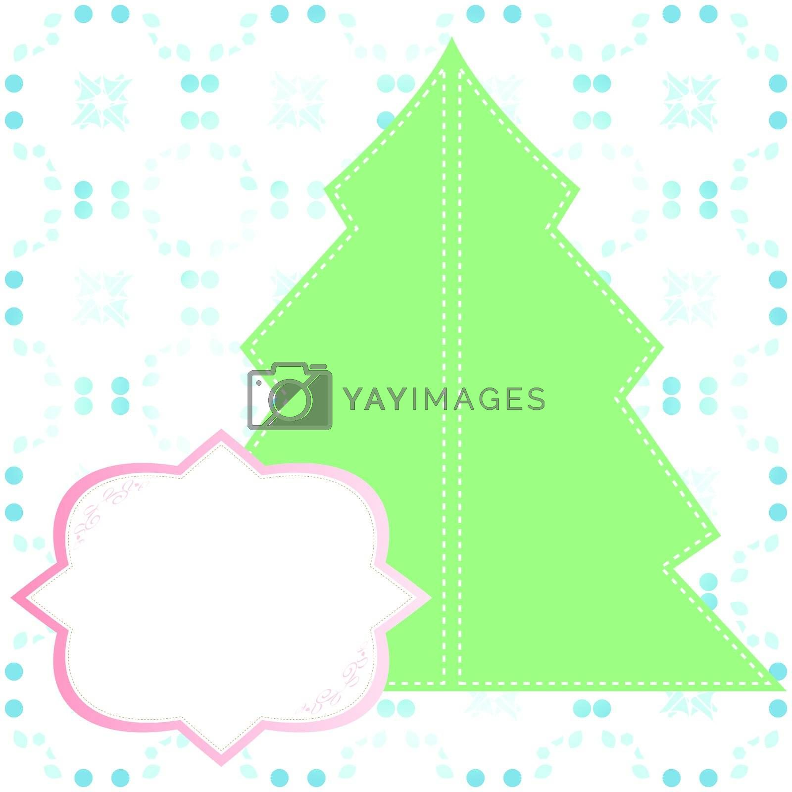 Abstract decorated christmas tree with blank banner. Vector illustration.