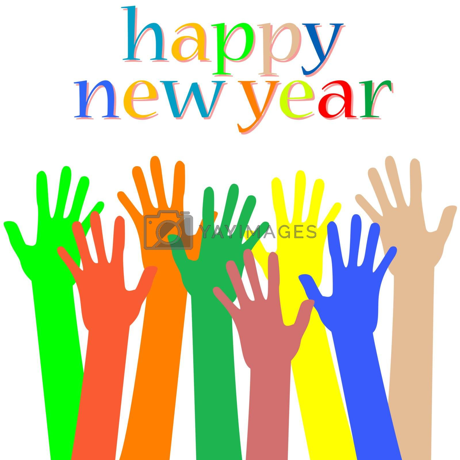happy new year with hands. holiday vector card