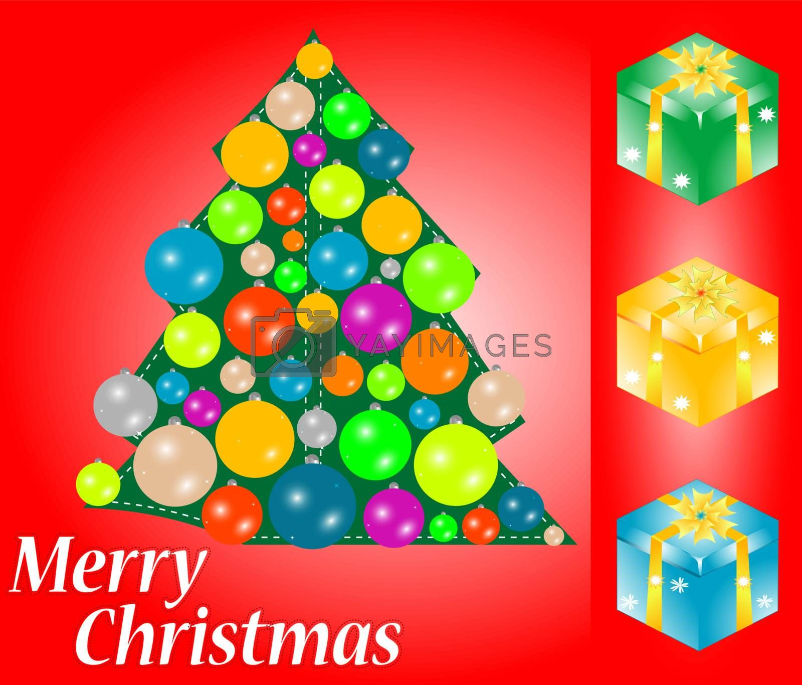 Greeting christmas card with gift box and copy space, vector illustration