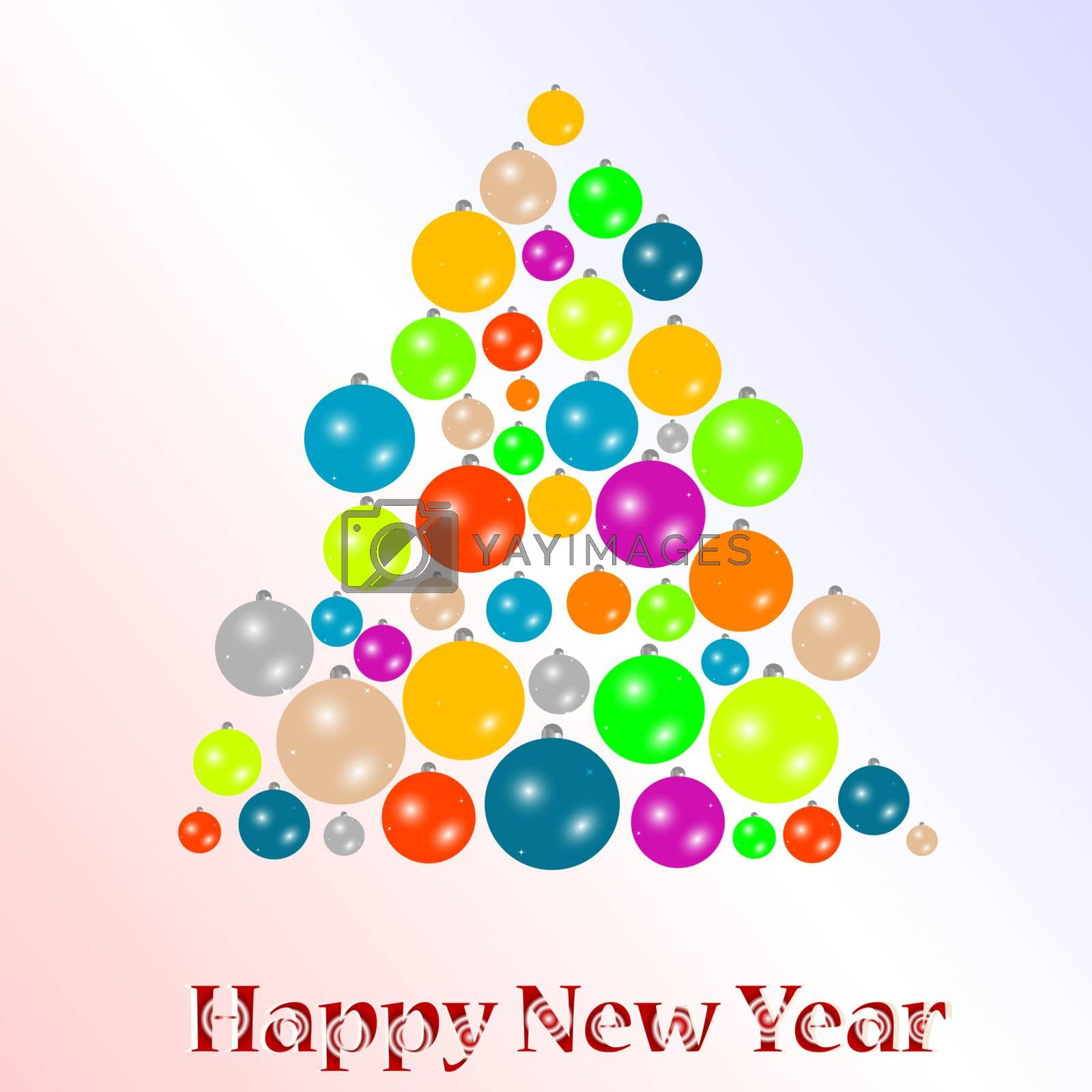 2012 New year background with christmas tree from many balls