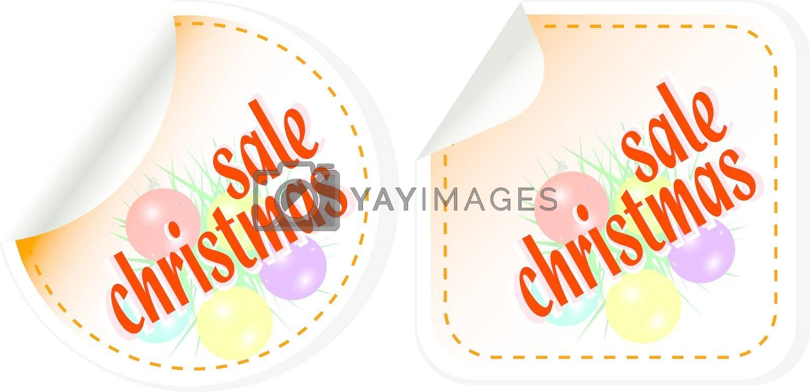 Winter christmas Sale stickers set. vector