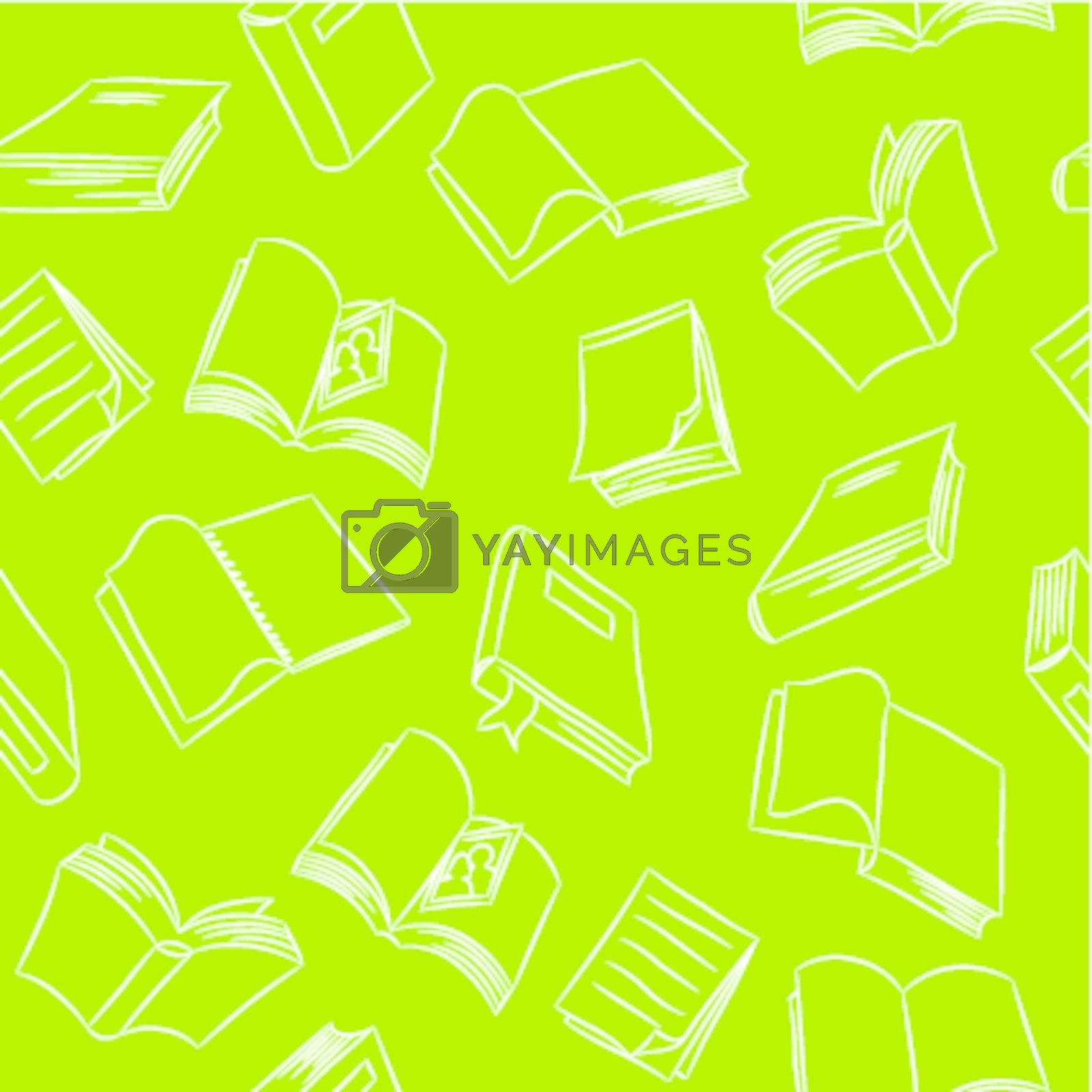 Seamless pattern of hand drawn books and papers.