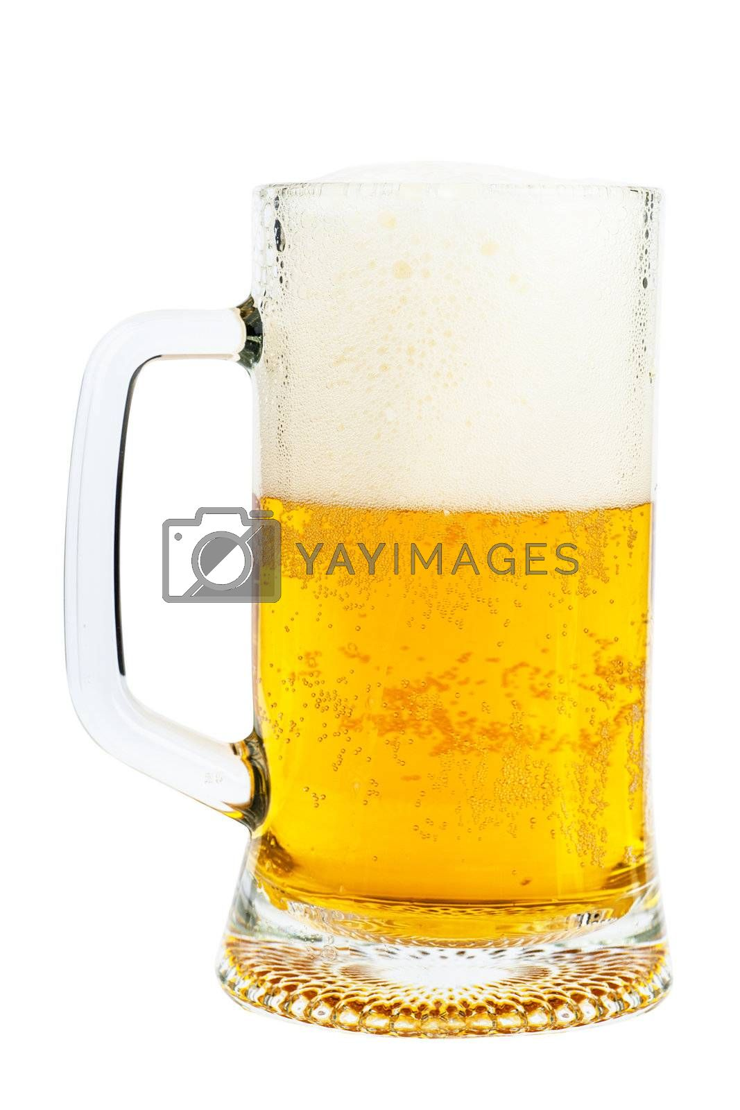 Orange beer and white froth in a glass isolated over white background