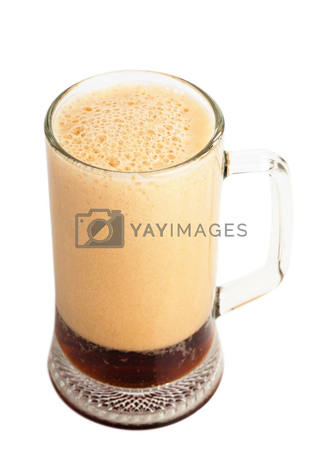 Brown ale in a glass over white background