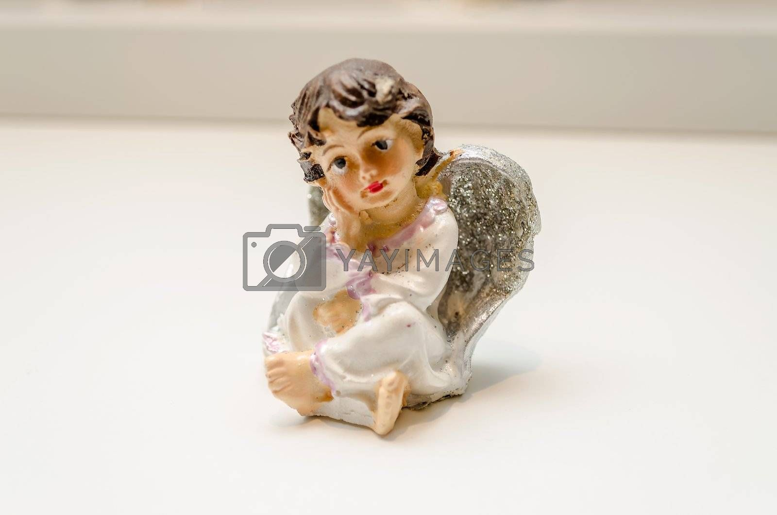 Ceramic Statuette of a Melancholic Cute Angel