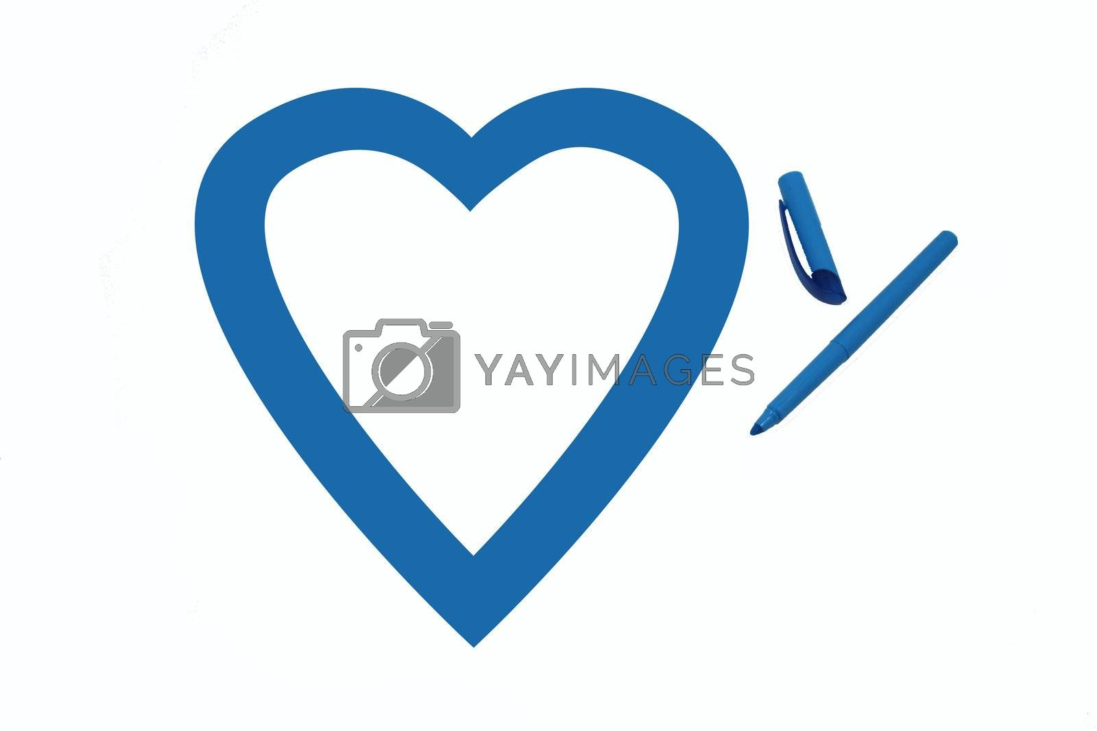 Heart shape colored blue by office highlighter on white background