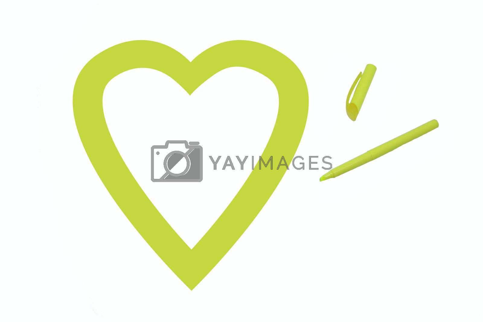 Heart shape colored yellow by office highlighter on white background