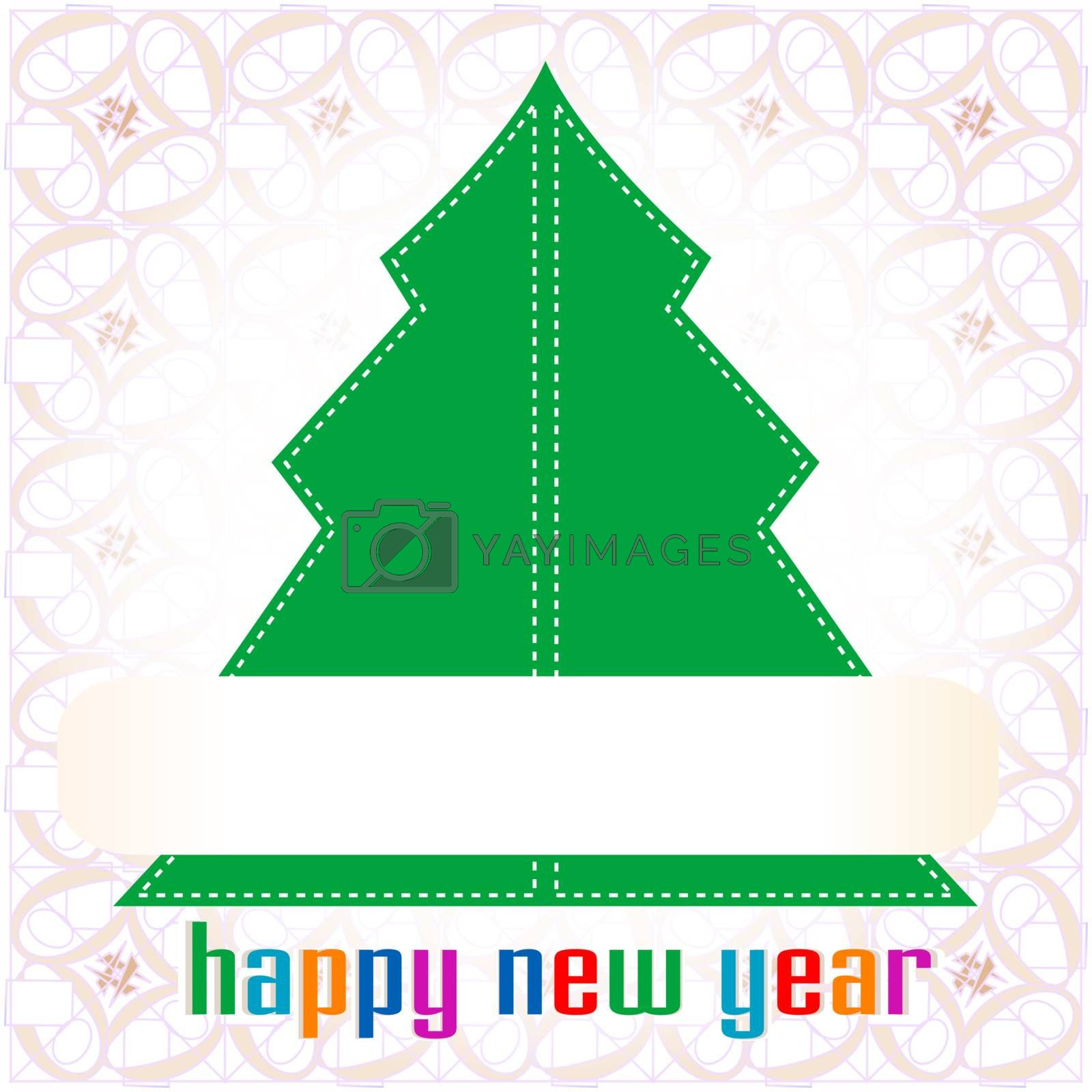 Colorful illustration with decorated green Christmas tree by fotoscool