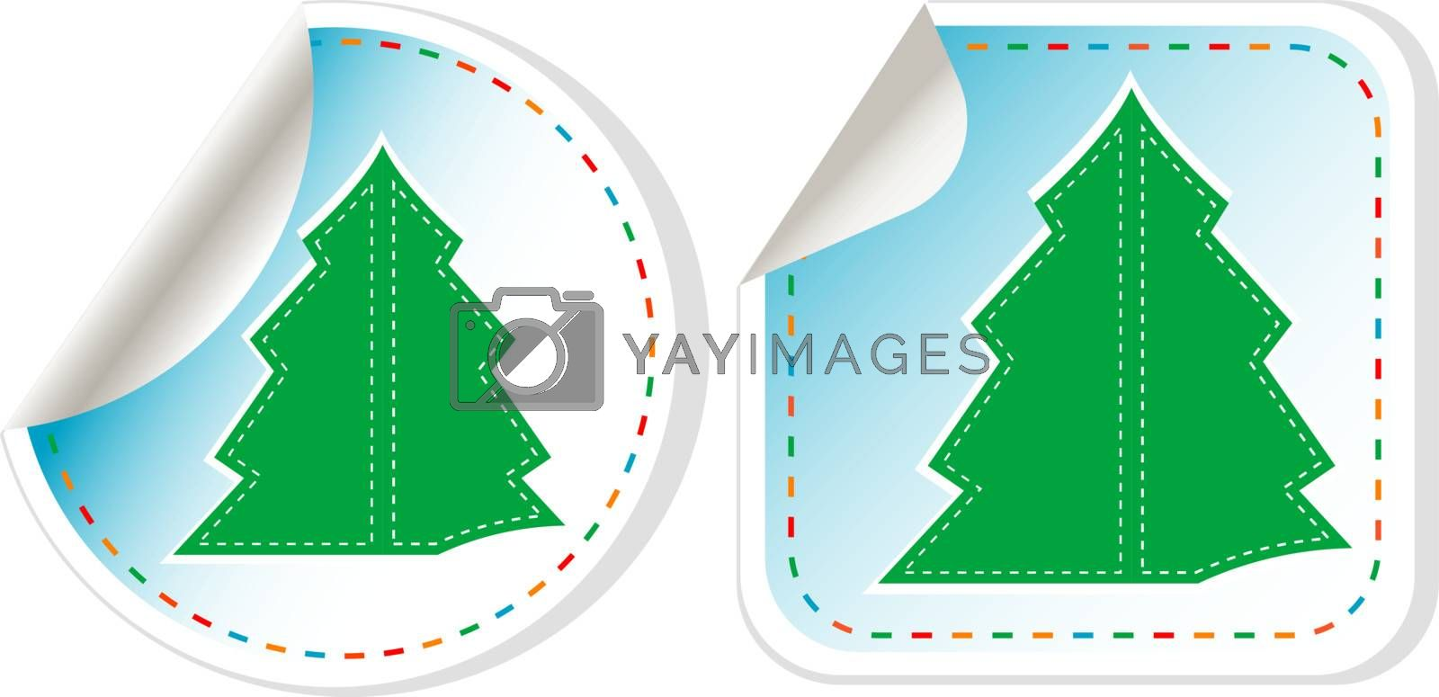 New Year Tree vector stickers set isolated on white