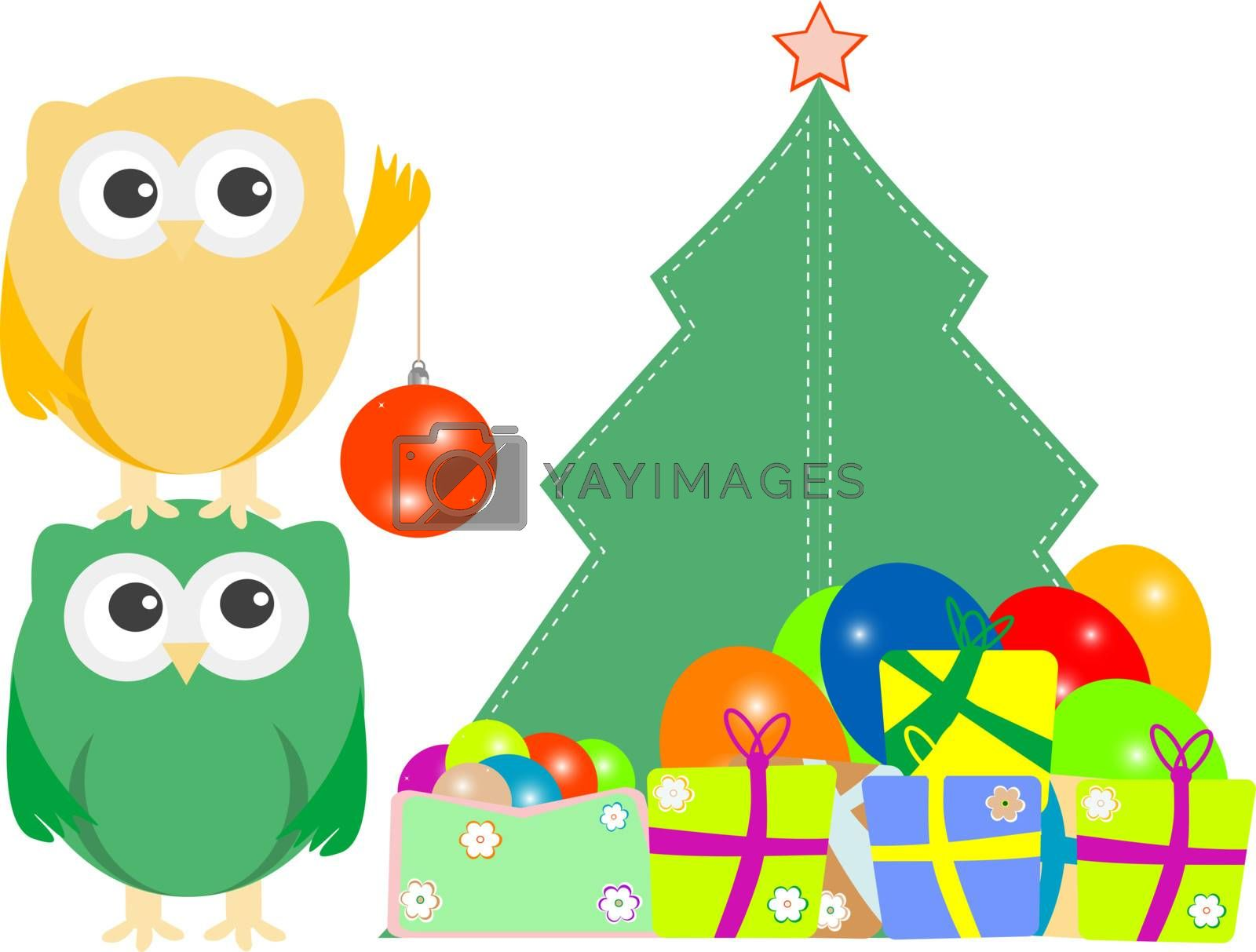 owl family with christmas tree, balls, balloons and gift boxes. vector