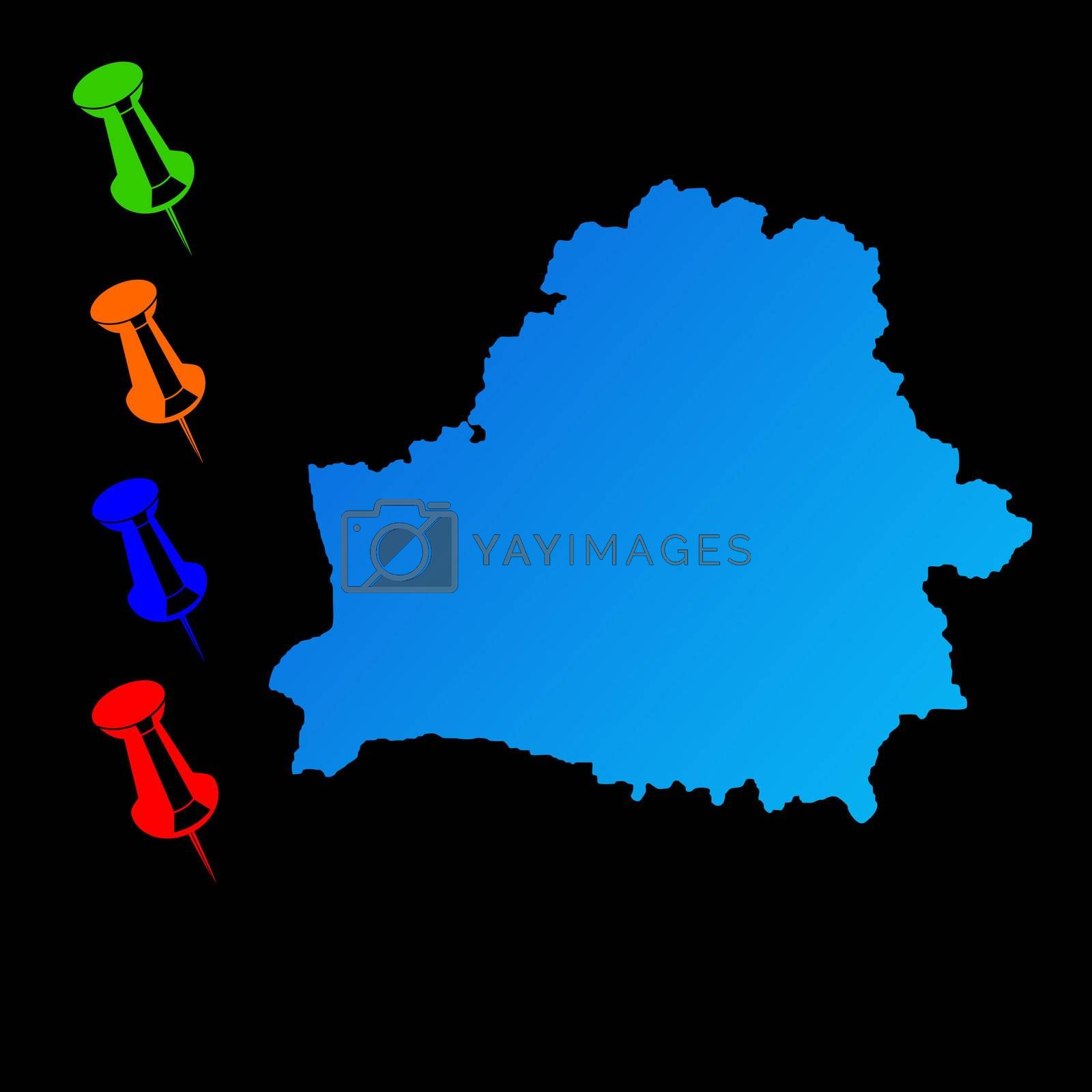 Belarus travel map with push pins on black background.