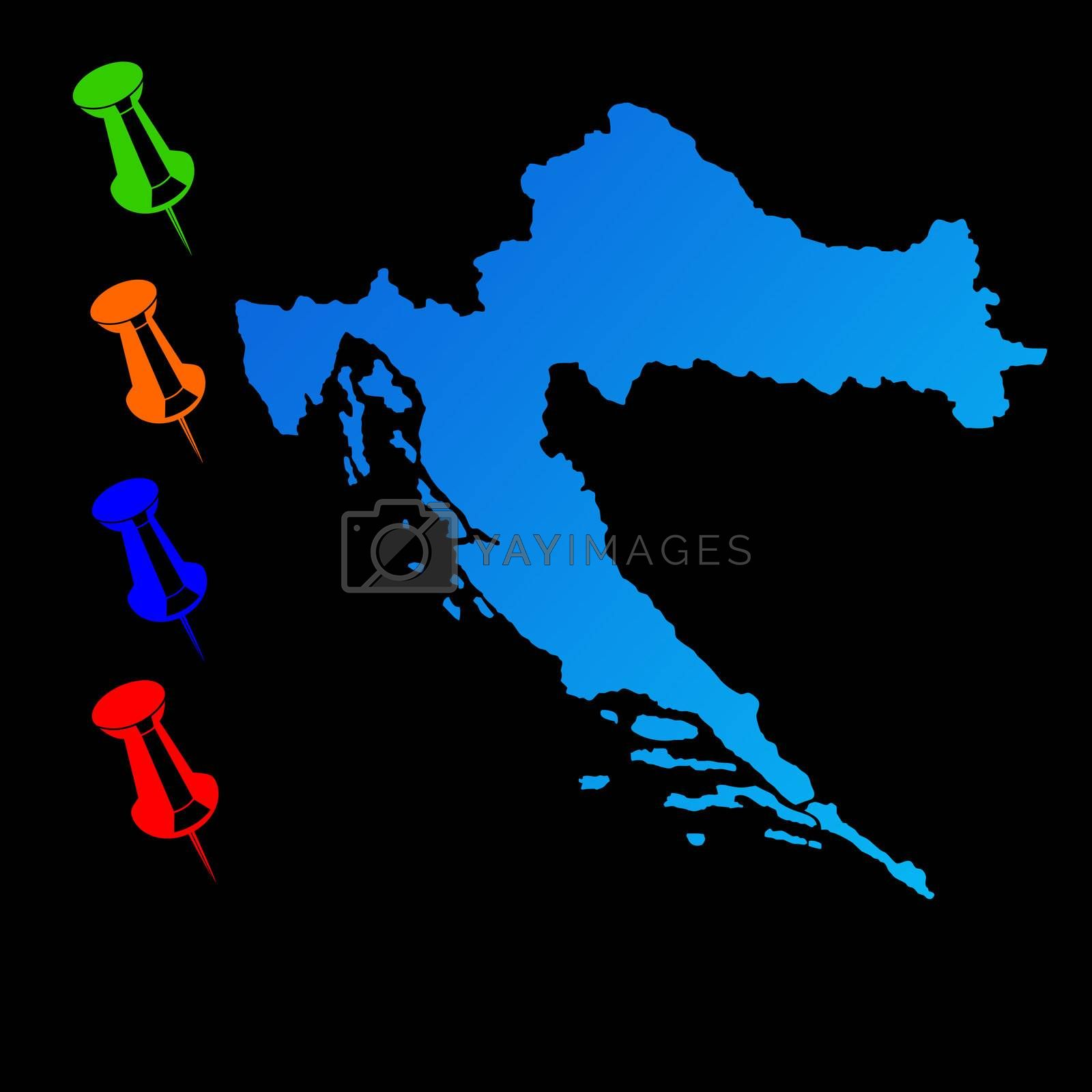 Croatia travel map with push pins on black background.
