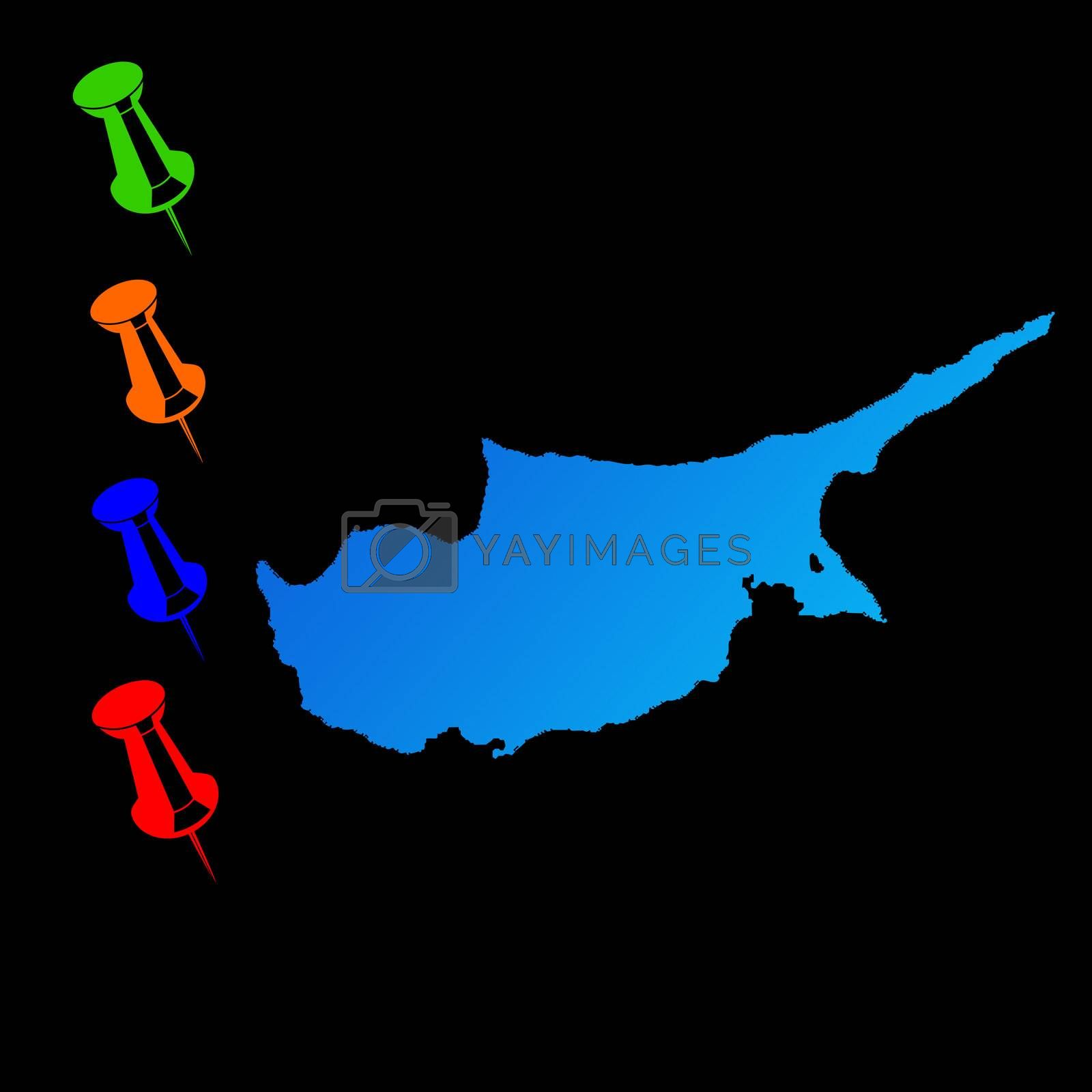Cyprus travel map with push pins on black background.
