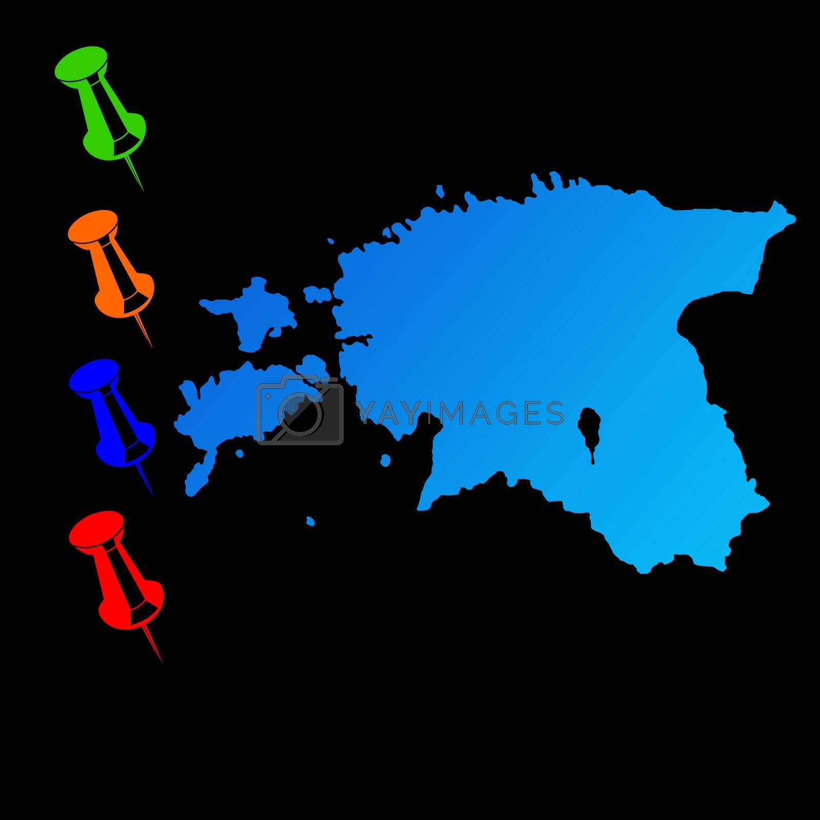 Estonia travel map with push pins on black background.
