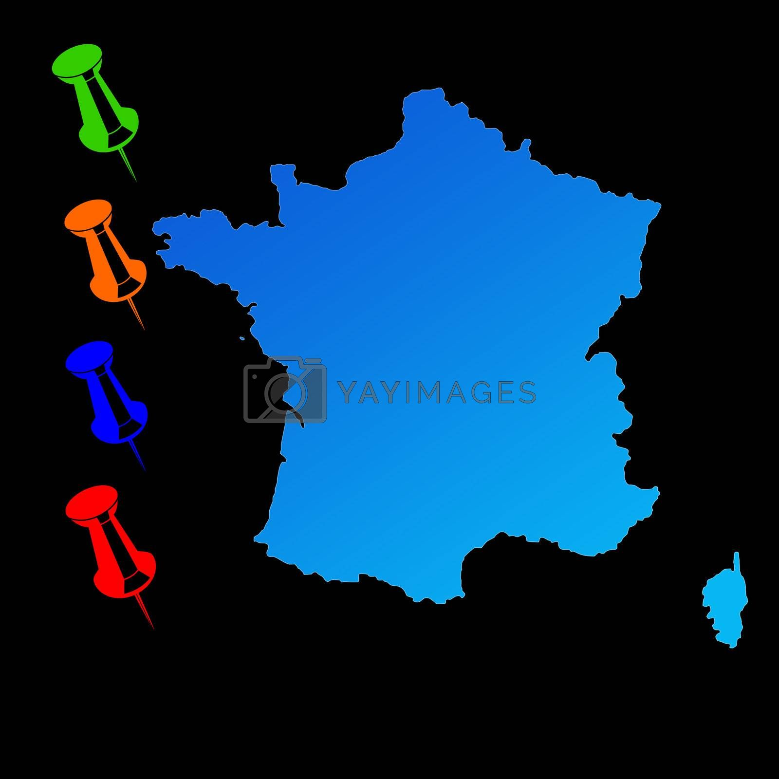 France travel map with push pins on black background.