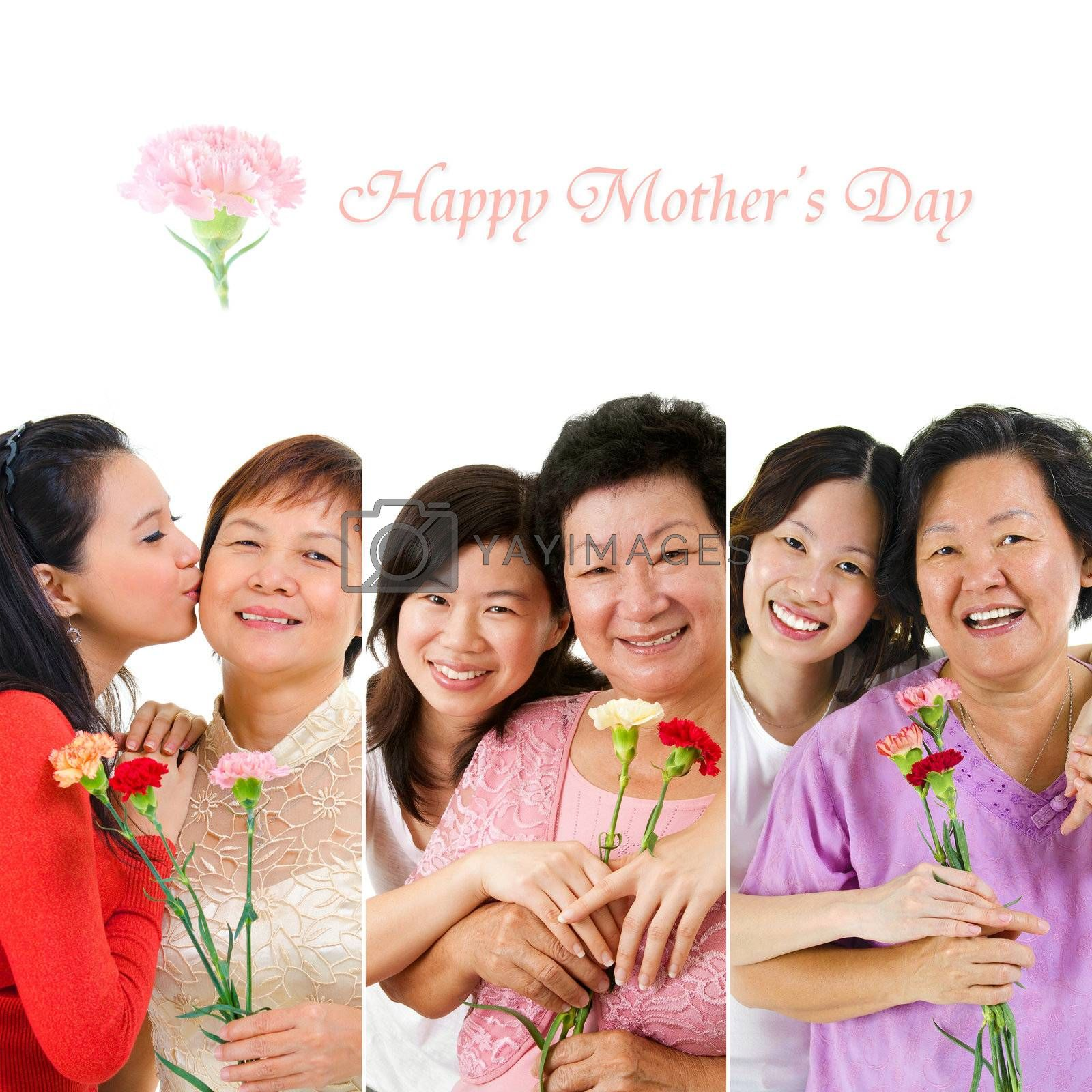 Mother's day celebration. Group of different mothers and daughter holding carnation flower.