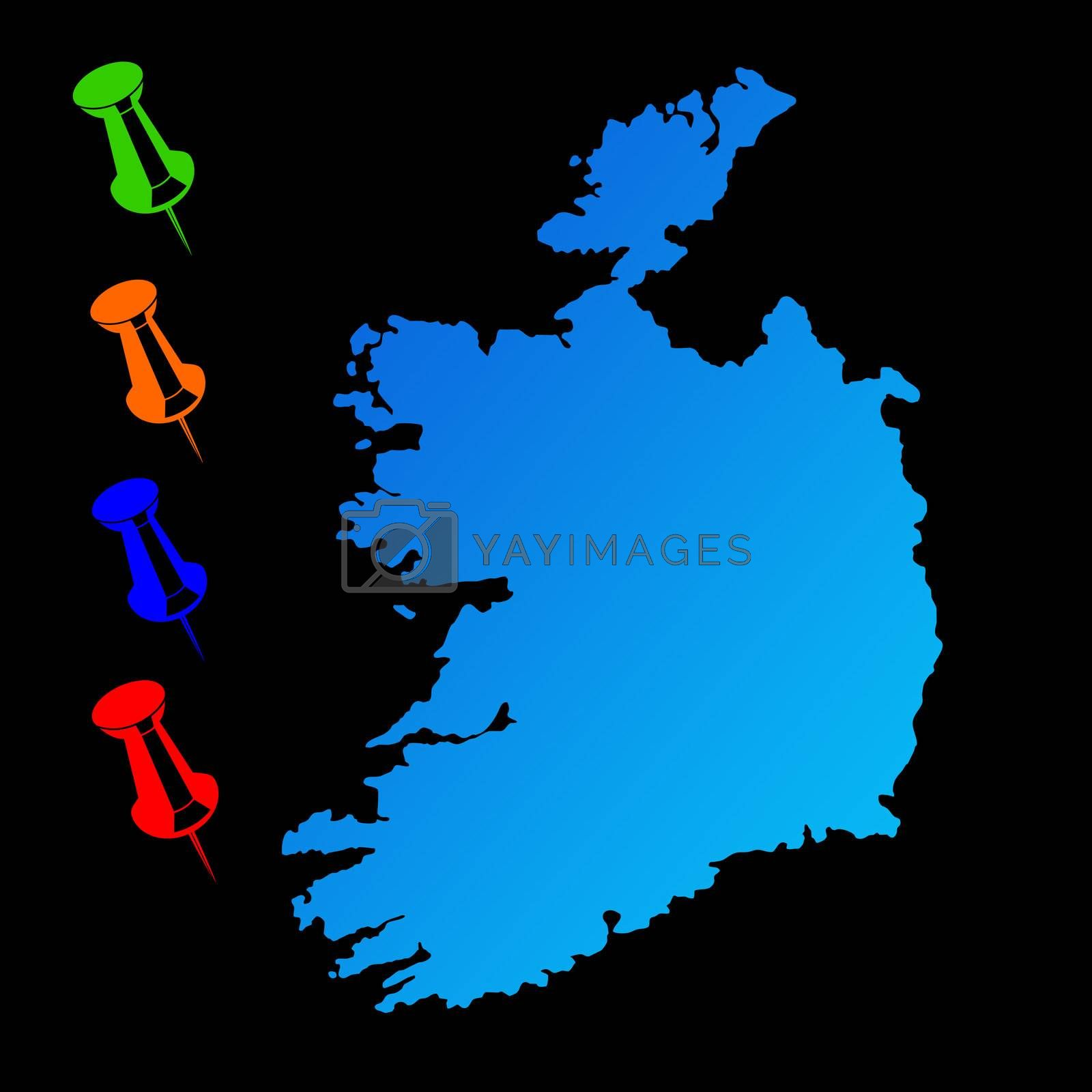 Ireland travel map with push pins on black background.