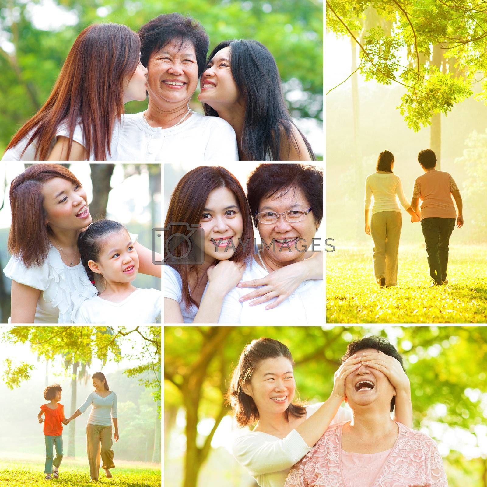 Collage photo mothers day concept. Family generations having fun at outdoor park. All photos belong to me.