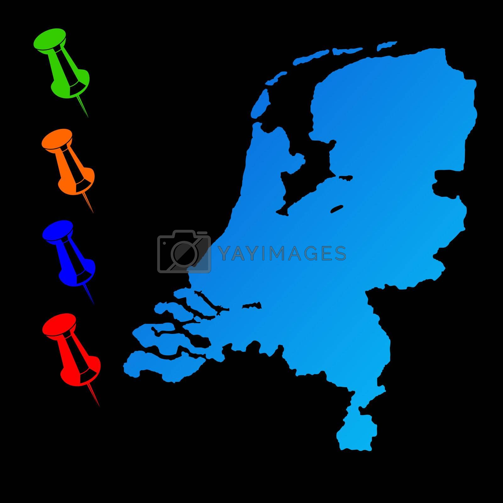 Netherlands travel map with push pins on black background.