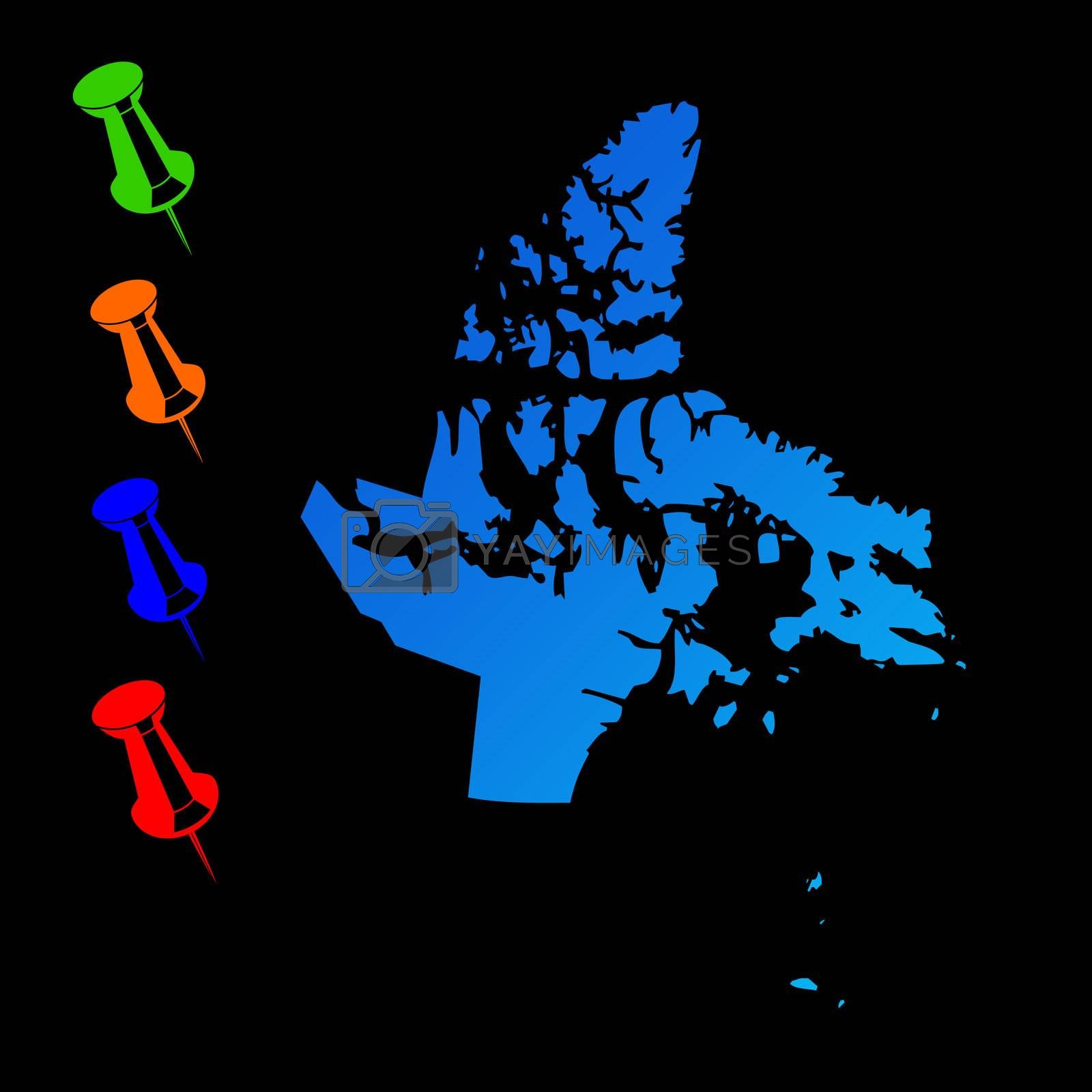 Canadian state of Nunavut travel map with push pins on black background.