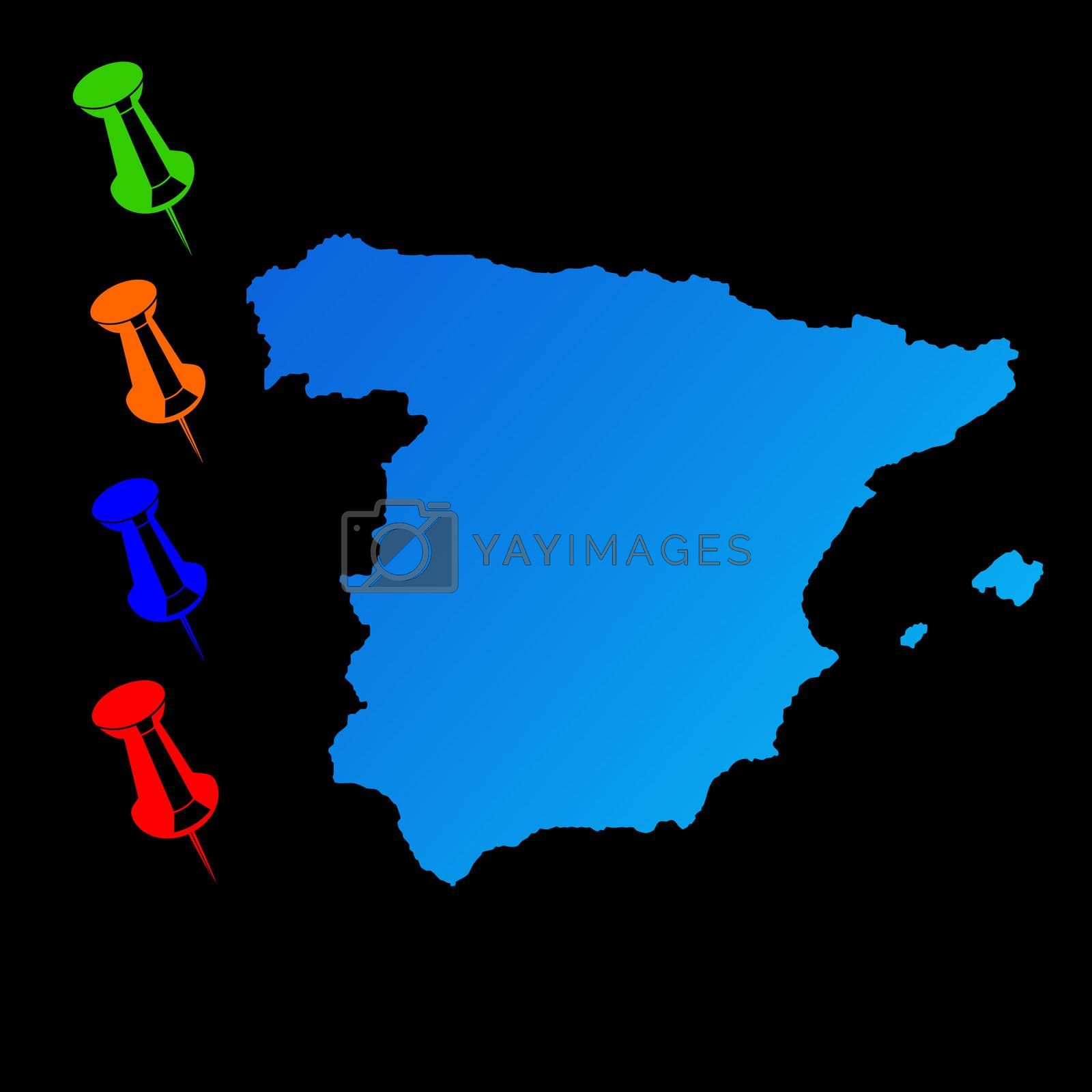 Spain travel map with push pins on black background.