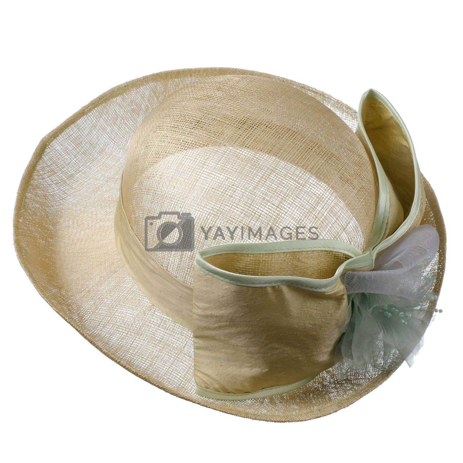 Fashion lady hat isolated on white background.