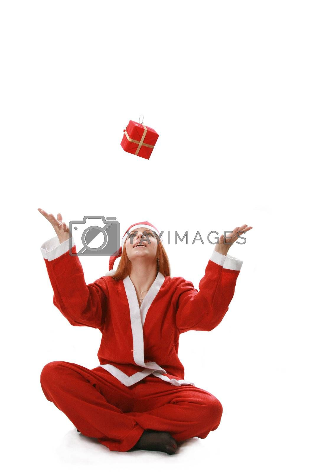 Christmas isolated the woman in a suit santa