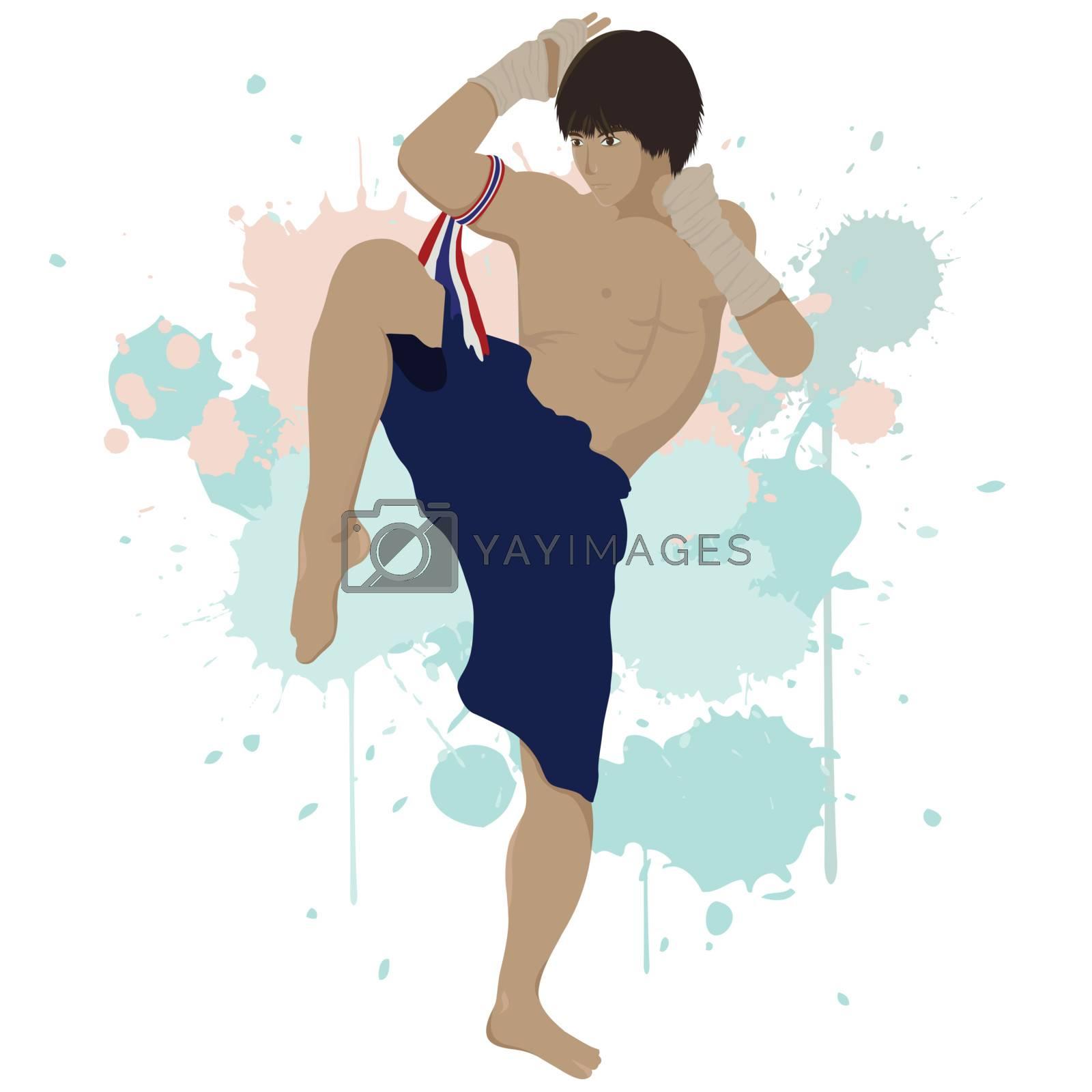 Thai boxing Muay Thai with splash graphic ,eps vector file