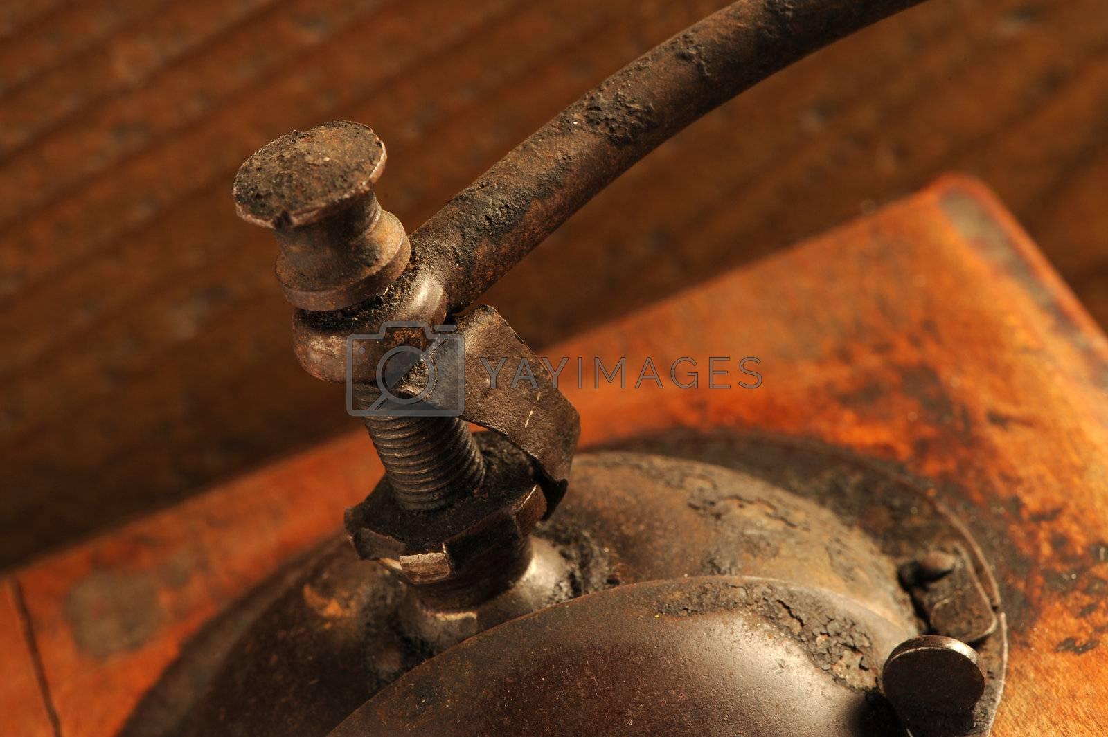 detail of Vintage manual coffee grinder