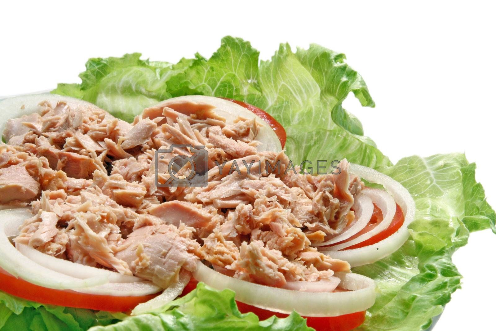 Preparation of Thai spicy Tuna with Green salad onion and tomato, closeup