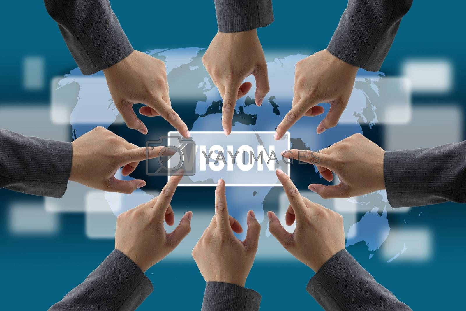 A diverse business teamwork do World vision technology