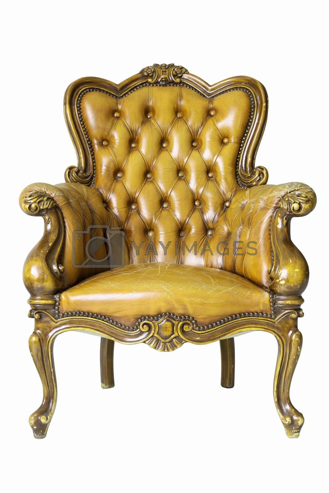 Armchair gold genuine leather classical style sofa with clipping path