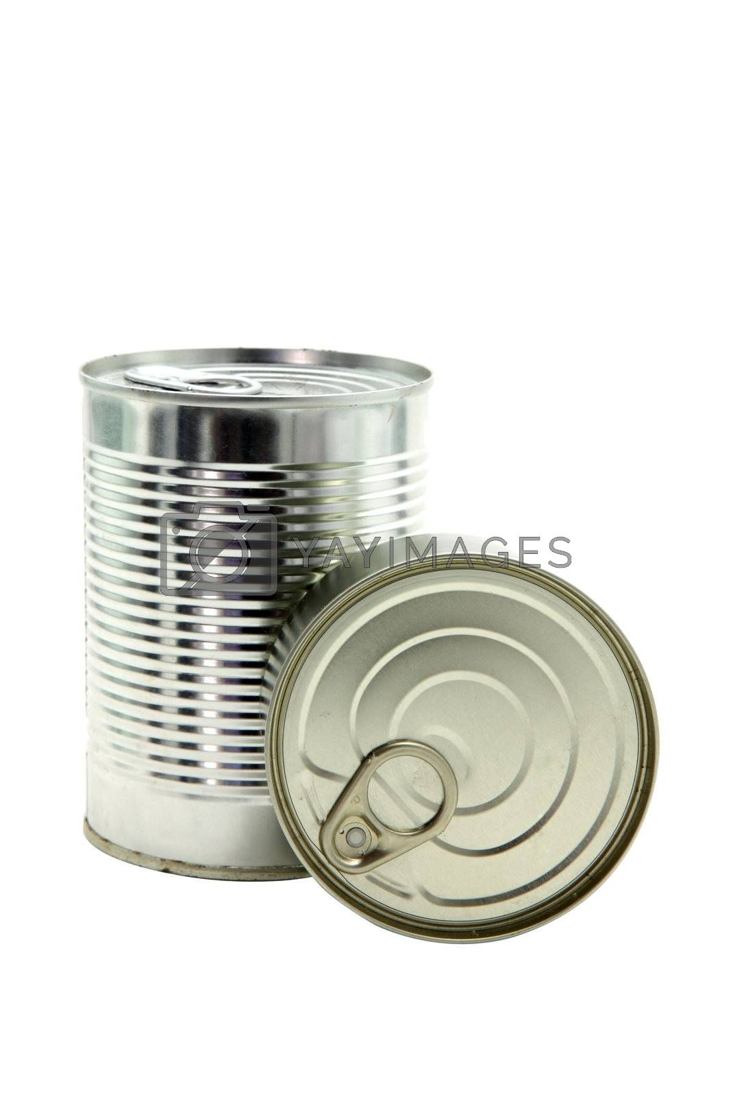 studio shot of food Aluminum metal can Isolated on white background