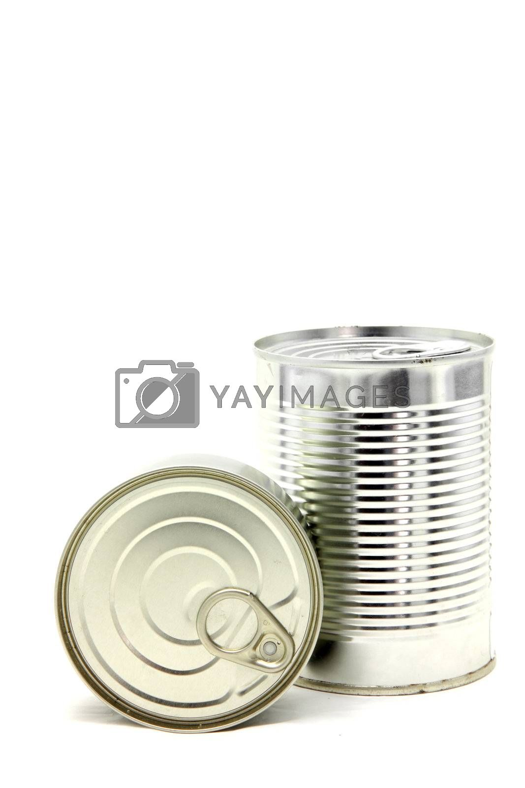 perspective Isolated of Aluminum metal can on white background