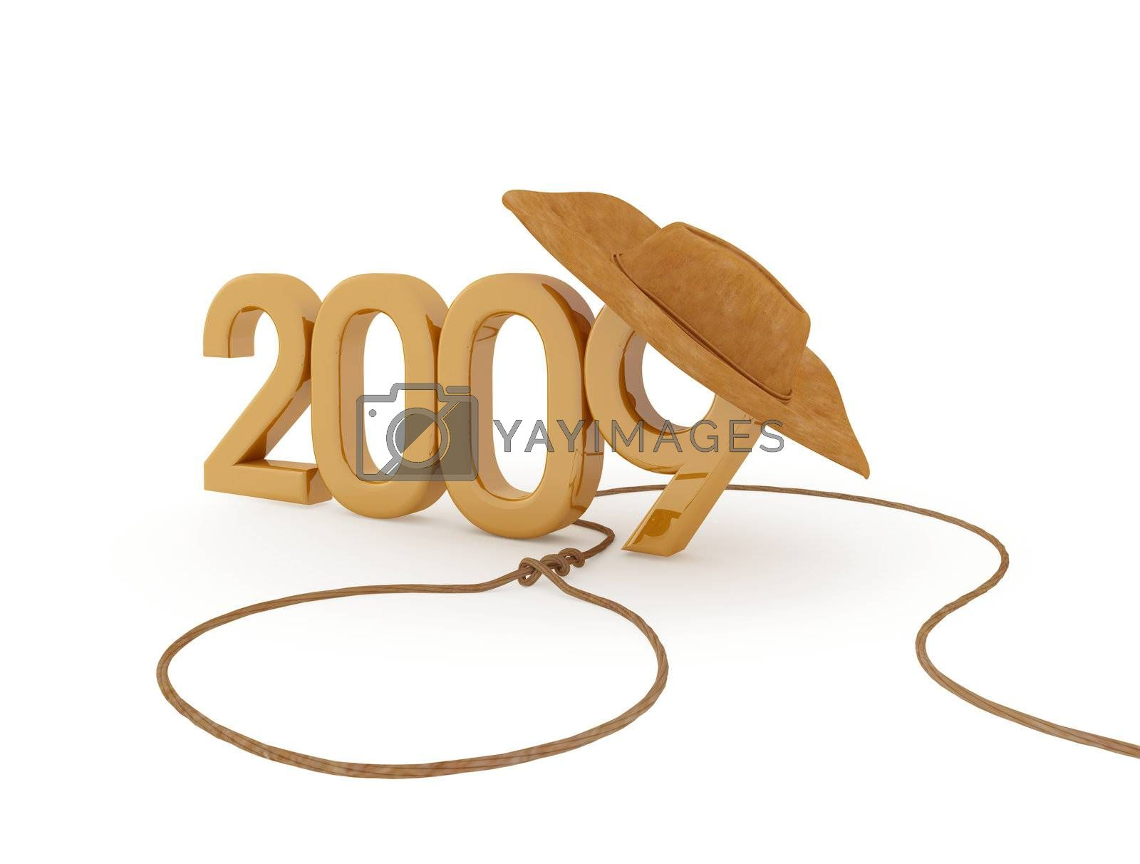 The number of 2009 with cowboy hat and lasso