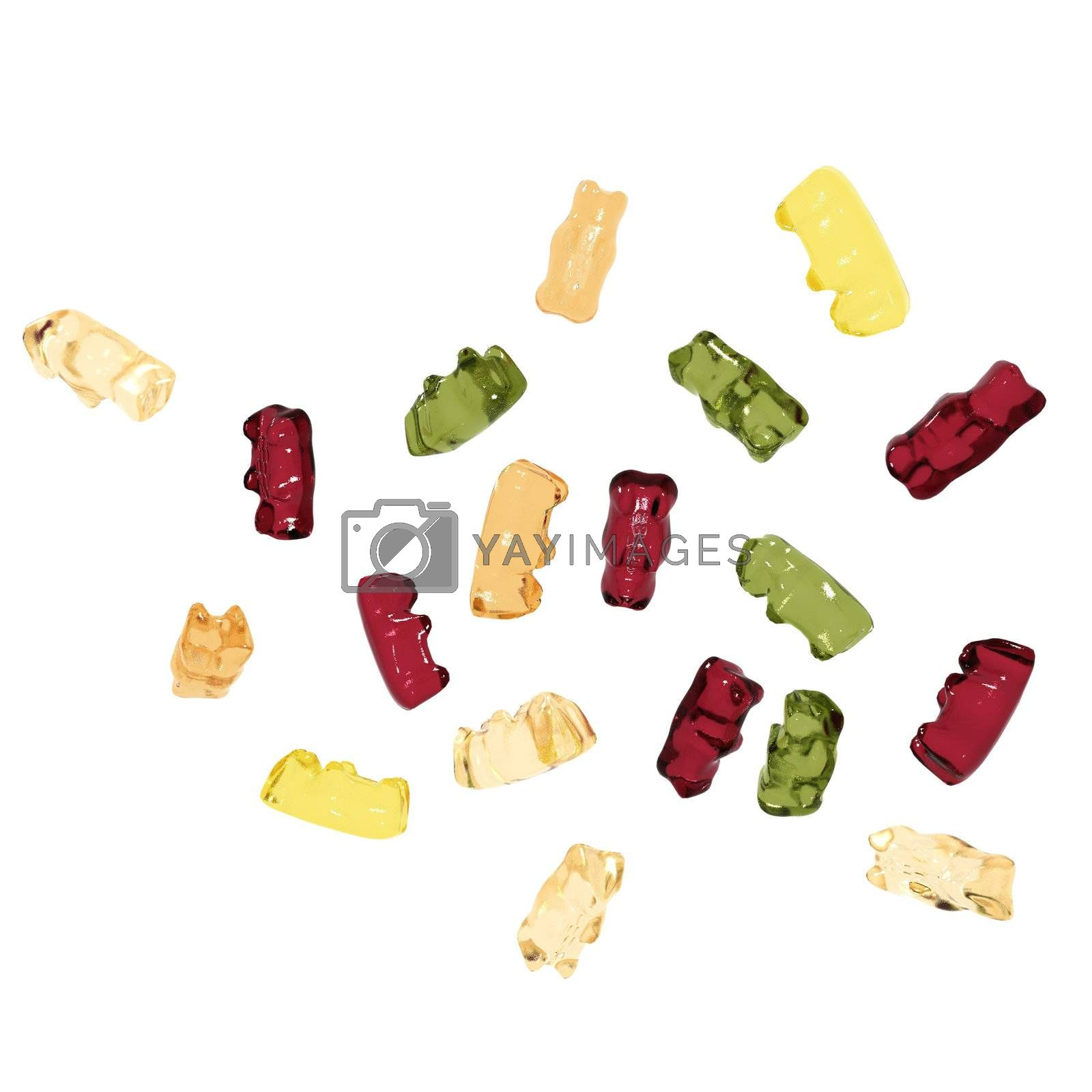 Isolated gummy bears on the white background