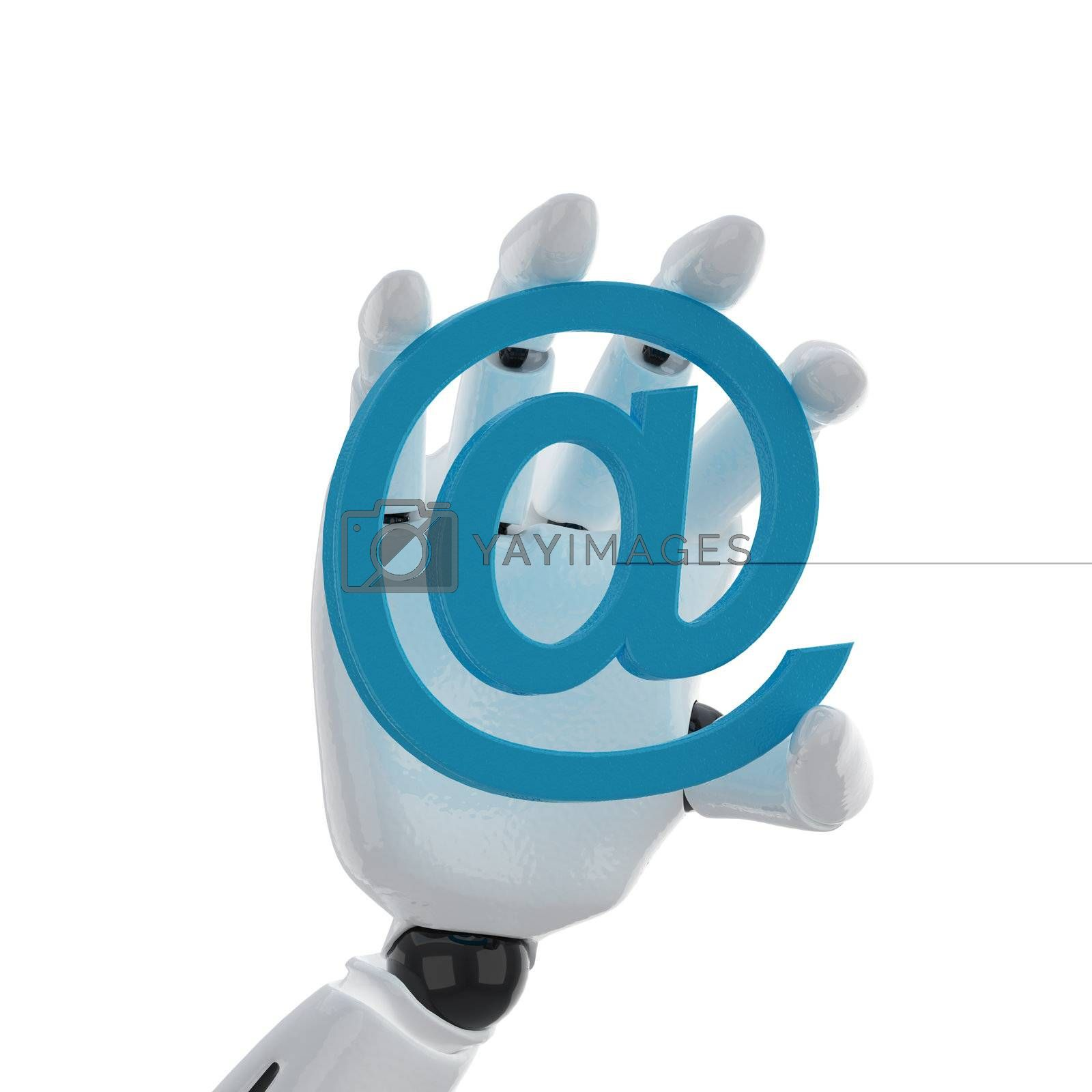 """robotic hand hold a email """"at"""" symbol"""