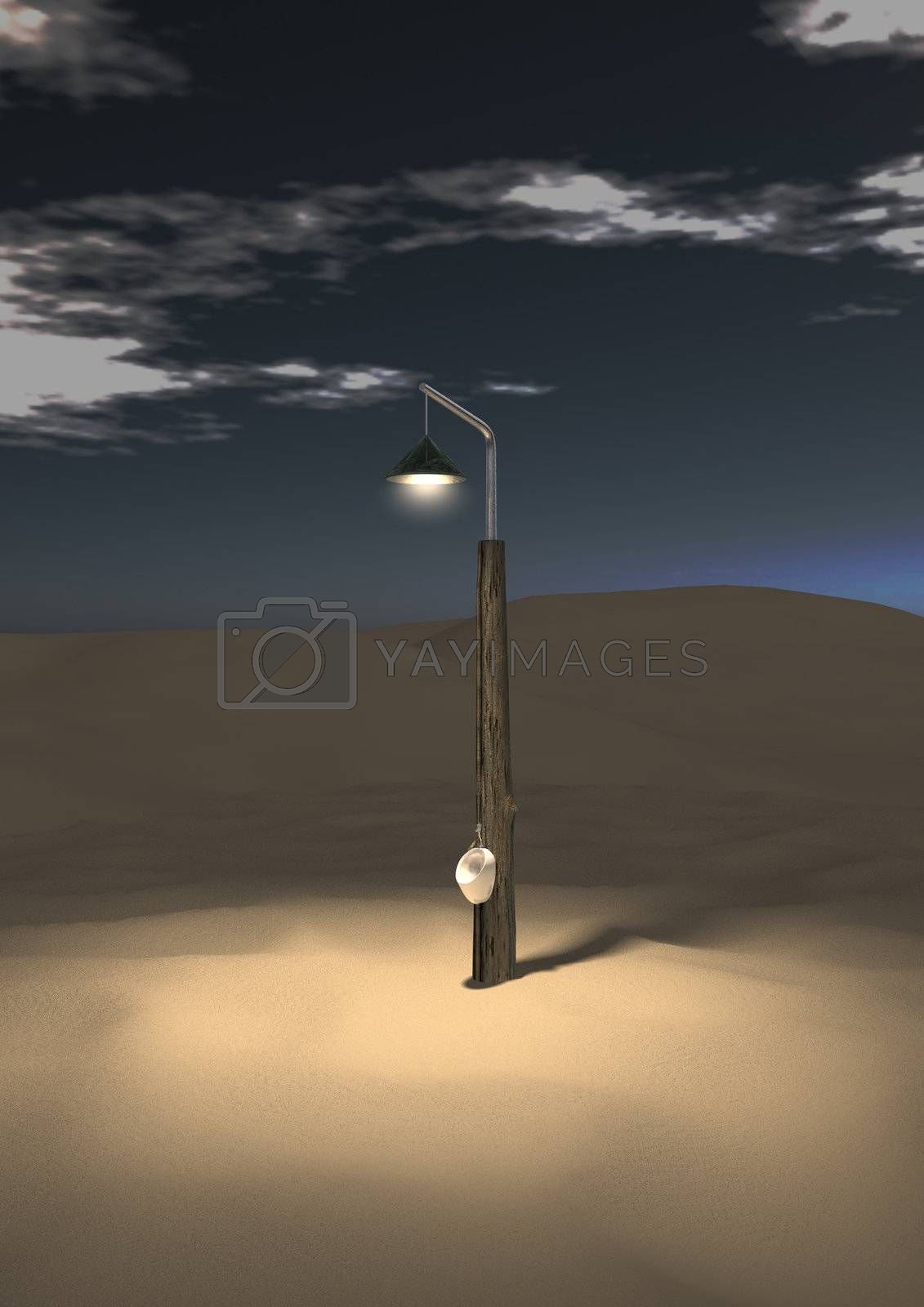 A lone post with urinal standing in the desert