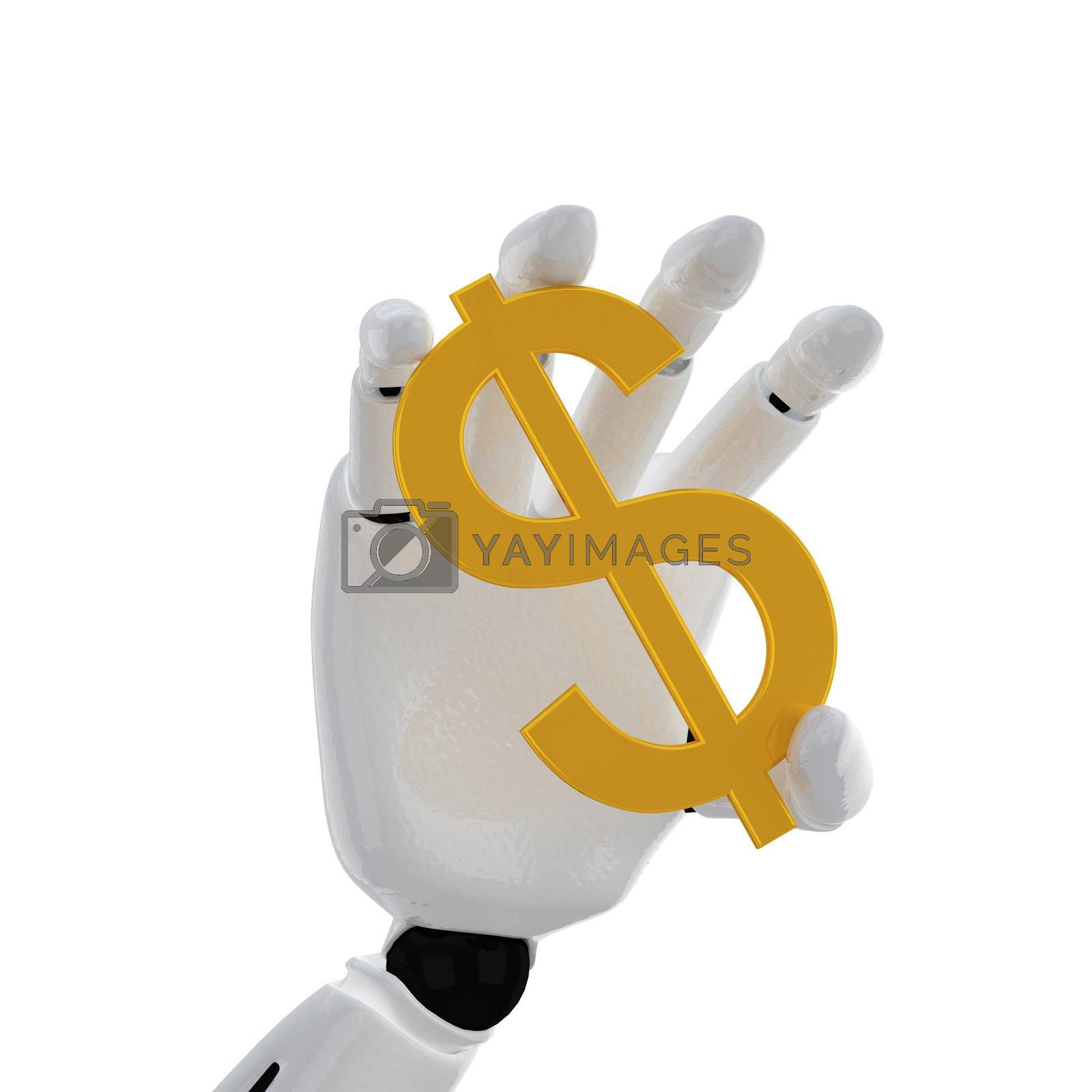 """The robotic hand hold the """"dollar"""" sign"""