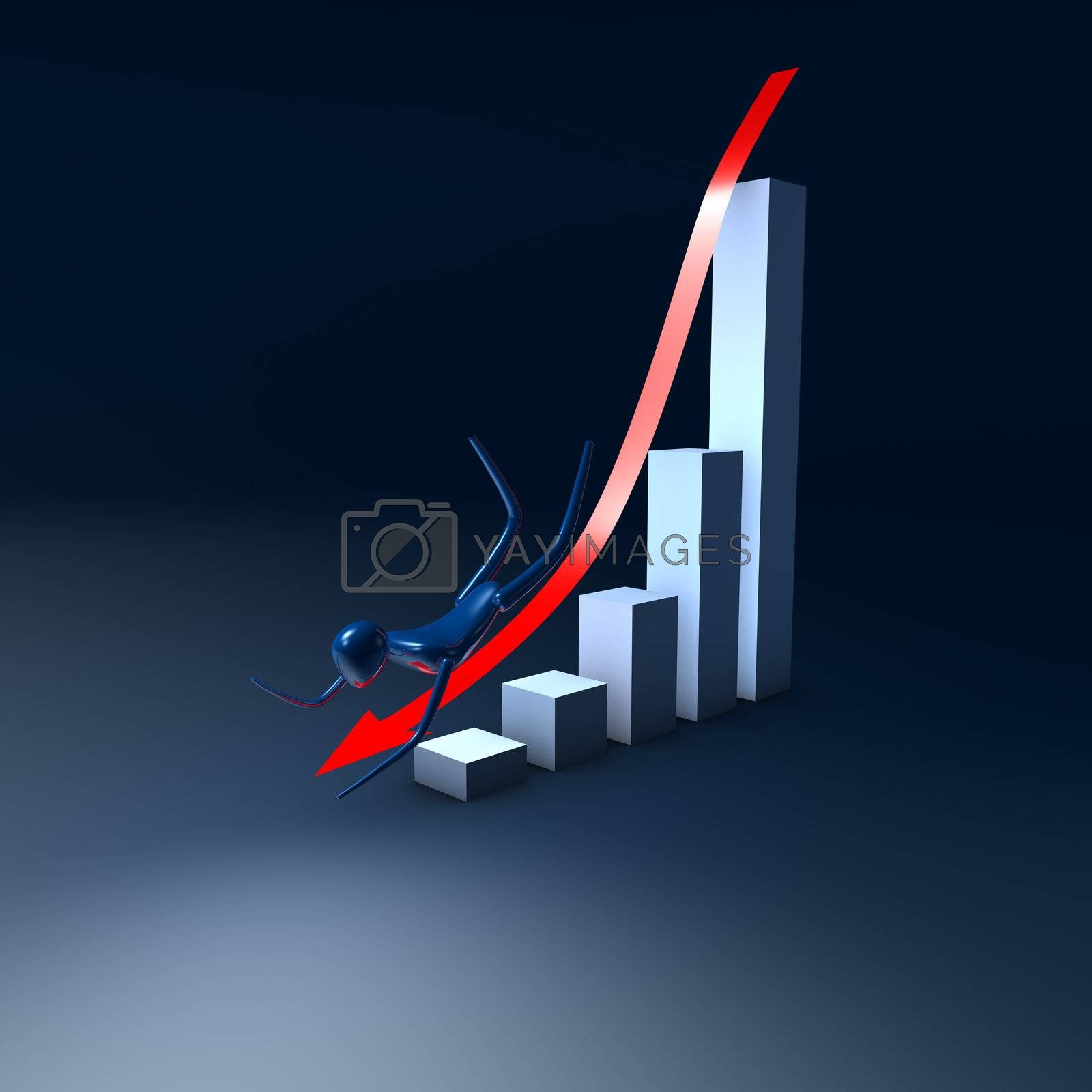 The arrow with man on the graph going down