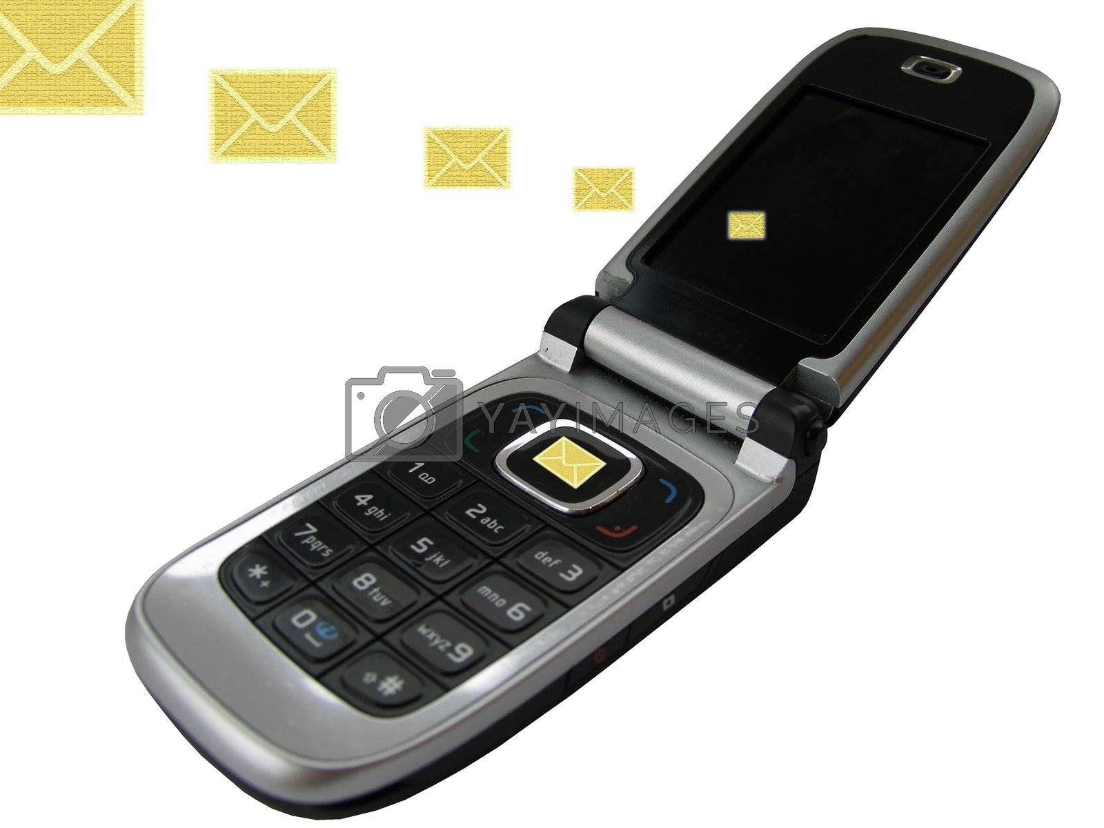 mobilephone sending emails, isolated on white, with clipping path