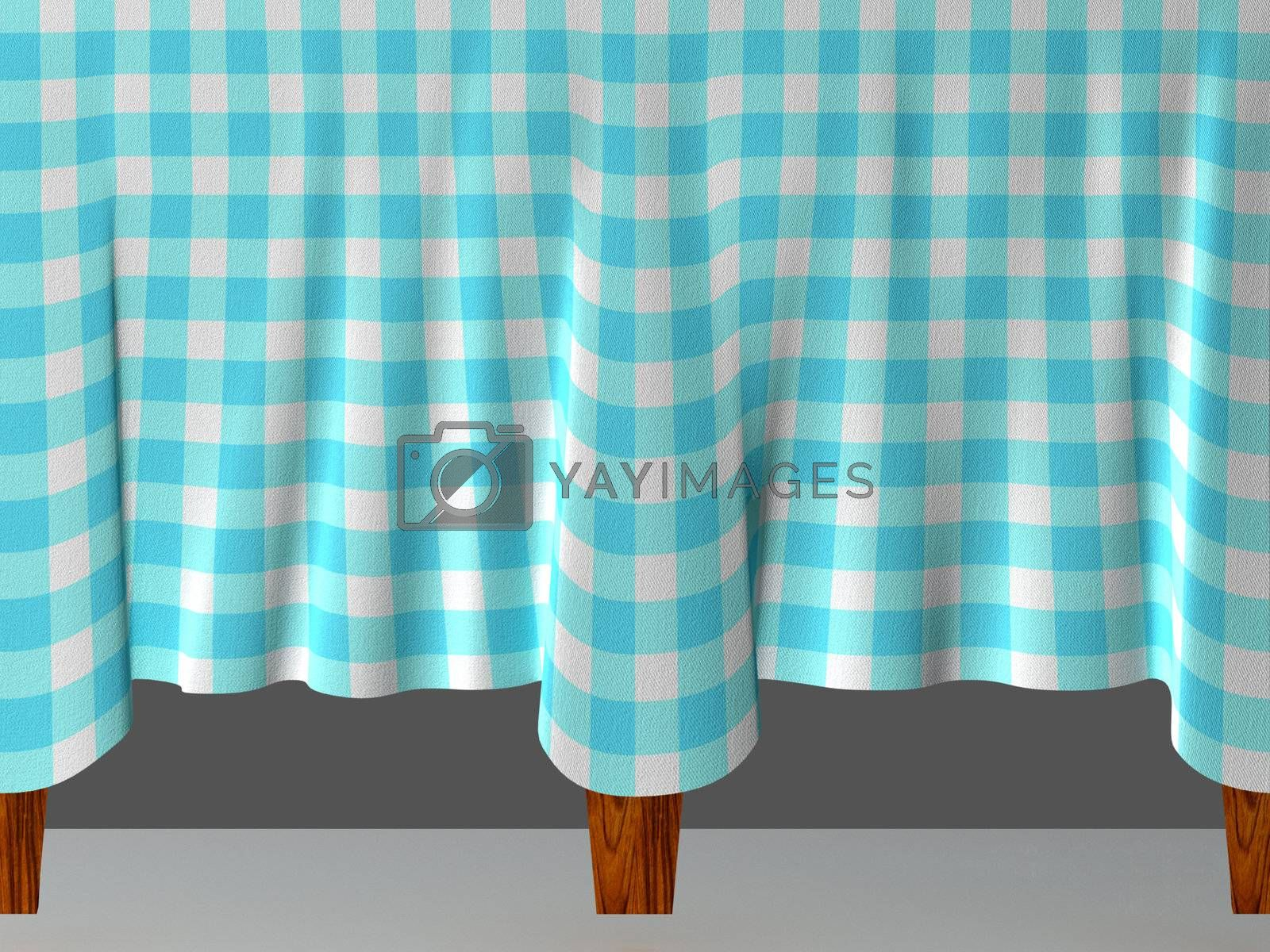 A blue checkered tablecloth flowing from table