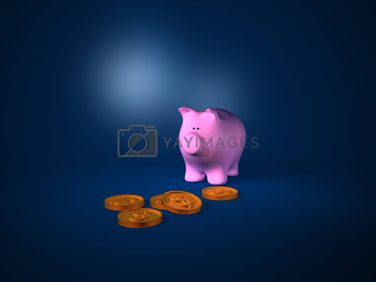 3d Render. Piggy Bank with some coins.