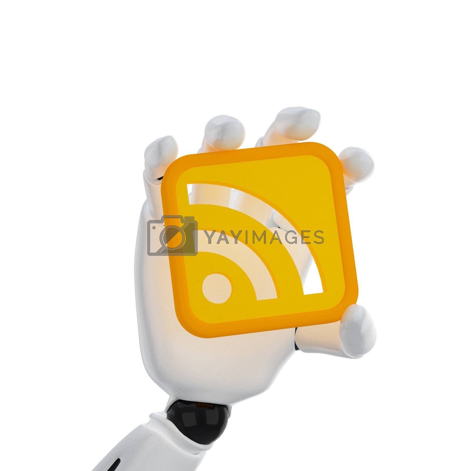 3d robotic hand hold a rss symbol